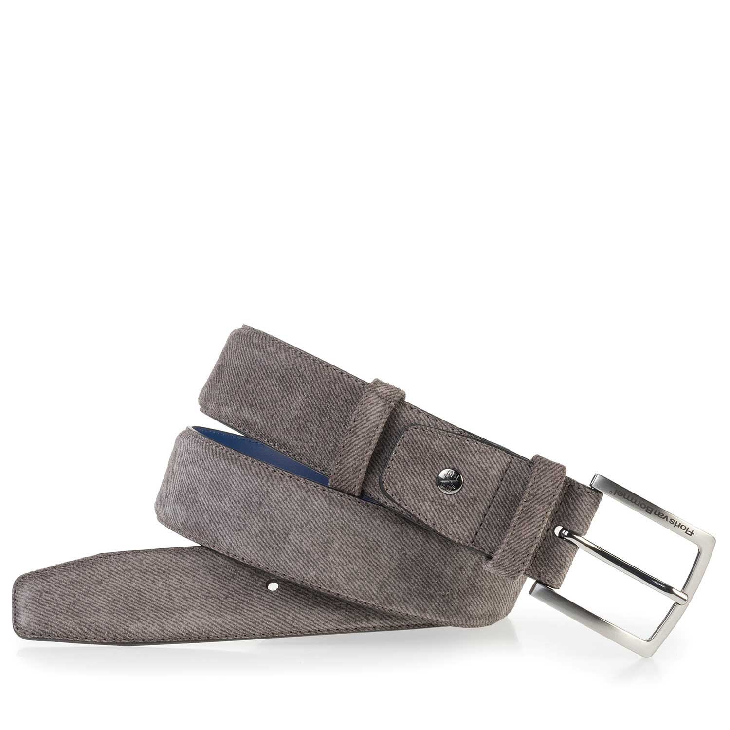 75181/11 - Grey suede leather belt with pattern