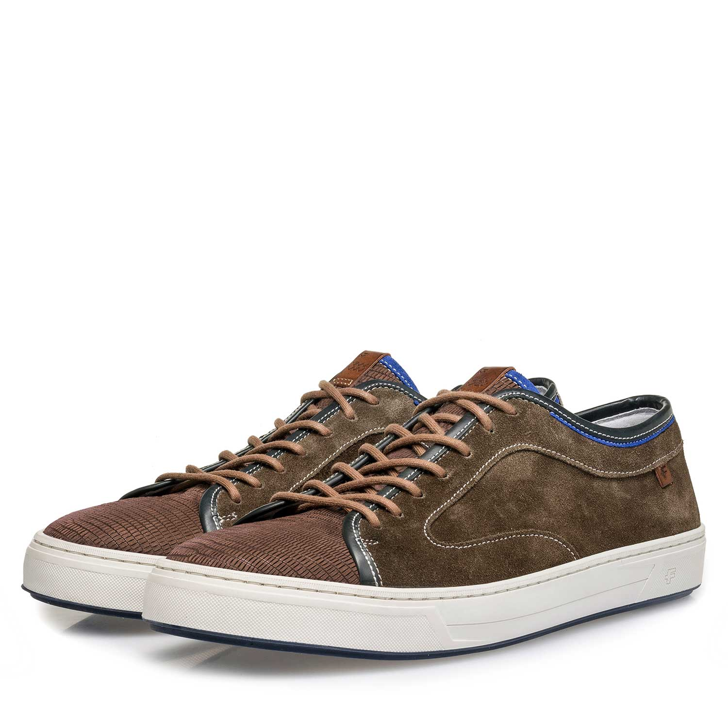 13466/09 - Dark brown calf suede leather sneaker with a lizard print