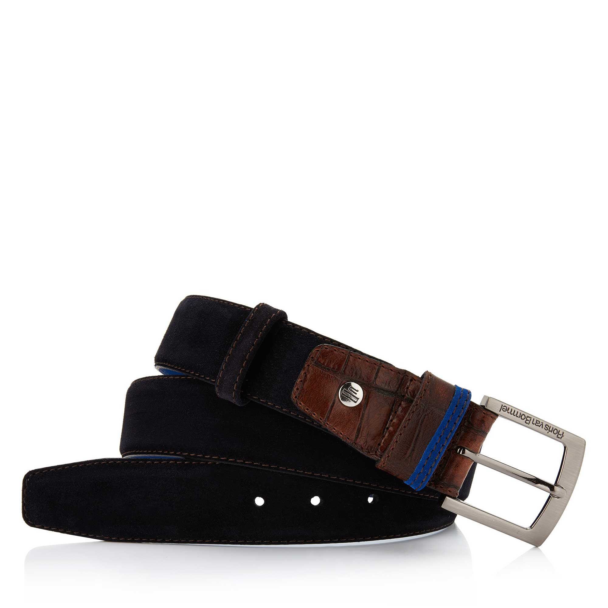 75004/06 - Floris van Bommel dark blue suede men's belt