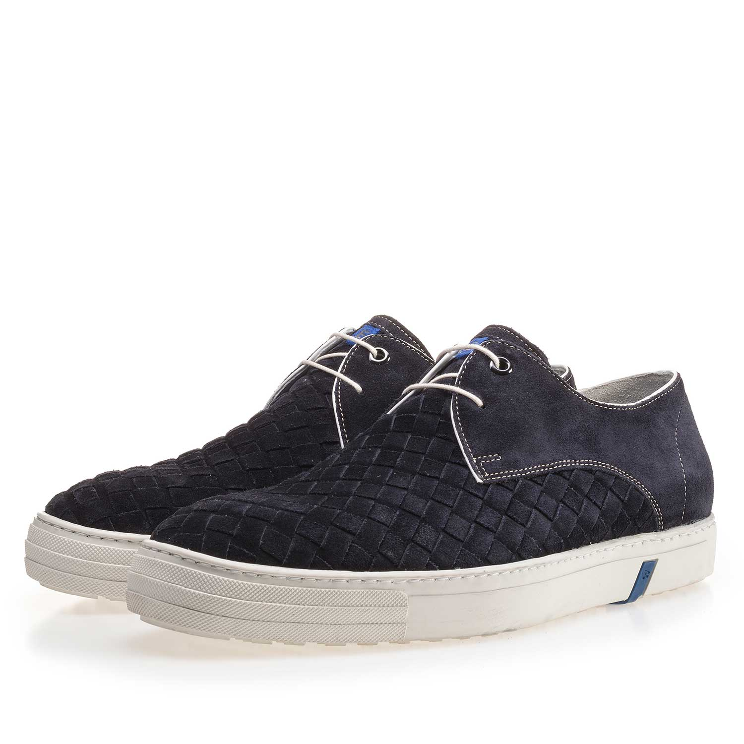 14451/04 - Dark blue lace shoe made of braided leather