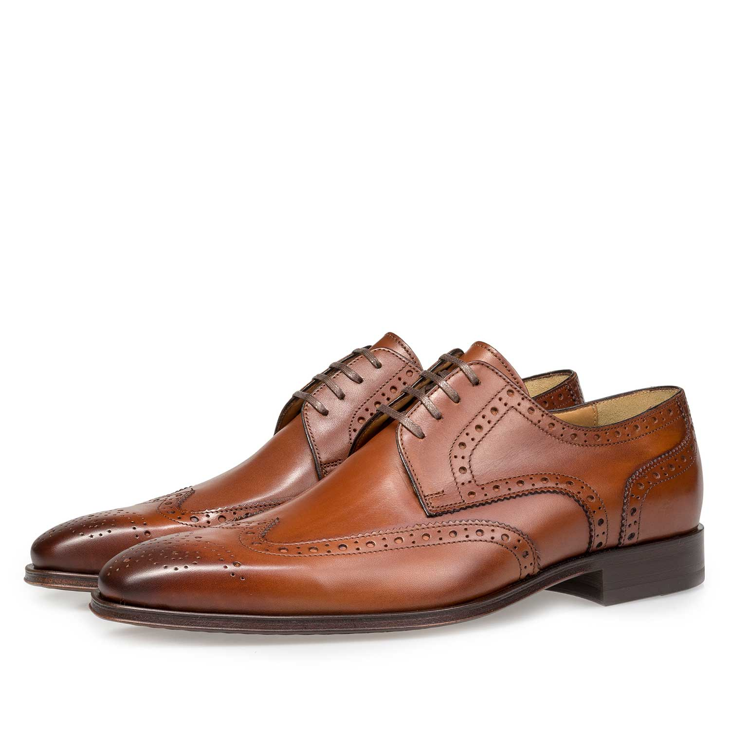 17099/01 - Cognac-coloured calf leather brogue