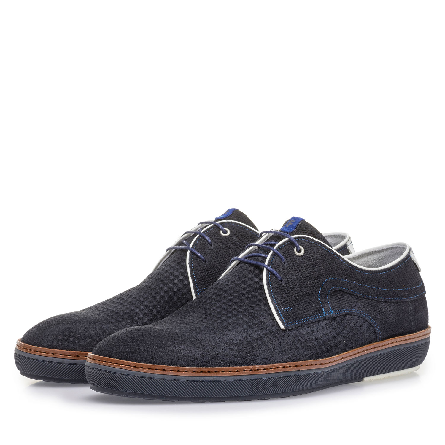 14020/36 - Blue suede leather lace shoe with print