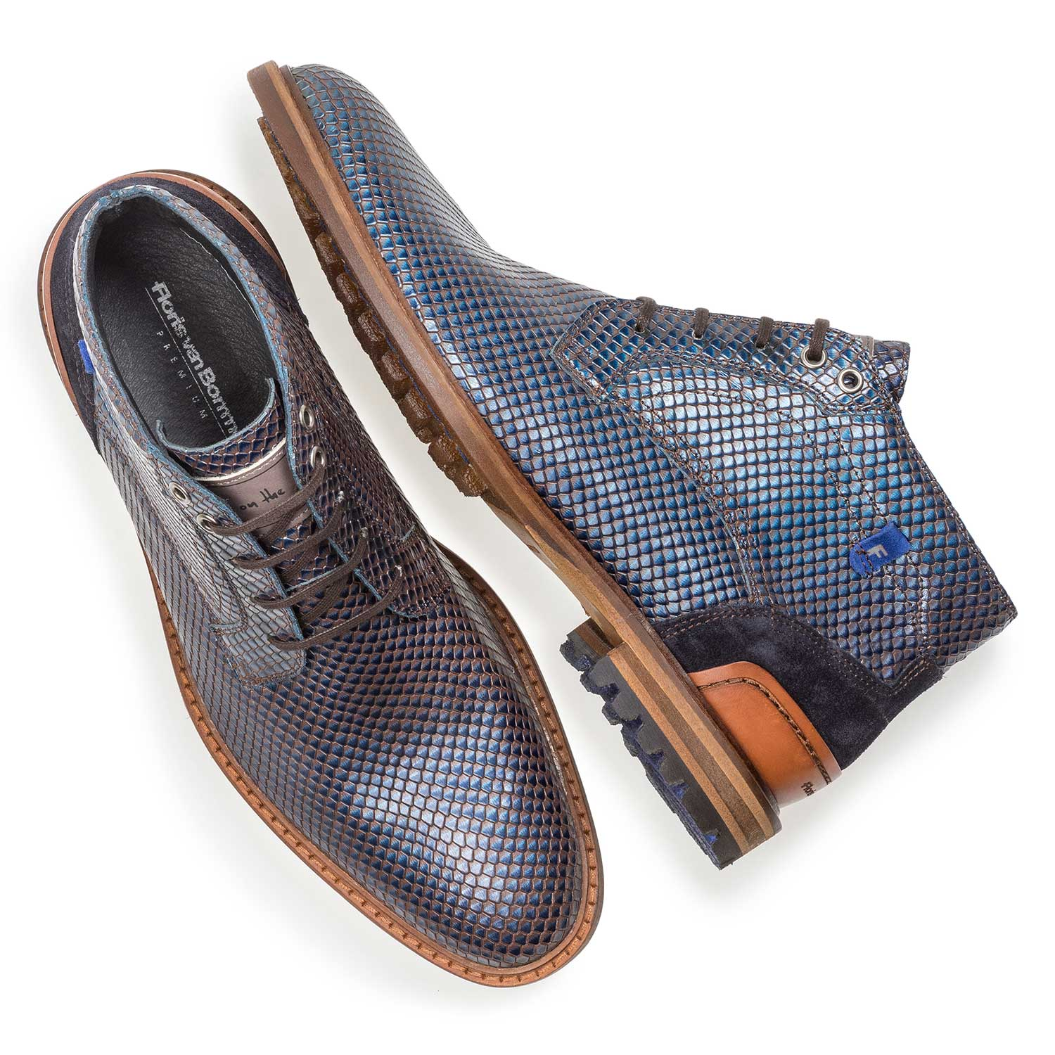 10683/01 - Premium blue printed metallic leather lace shoe