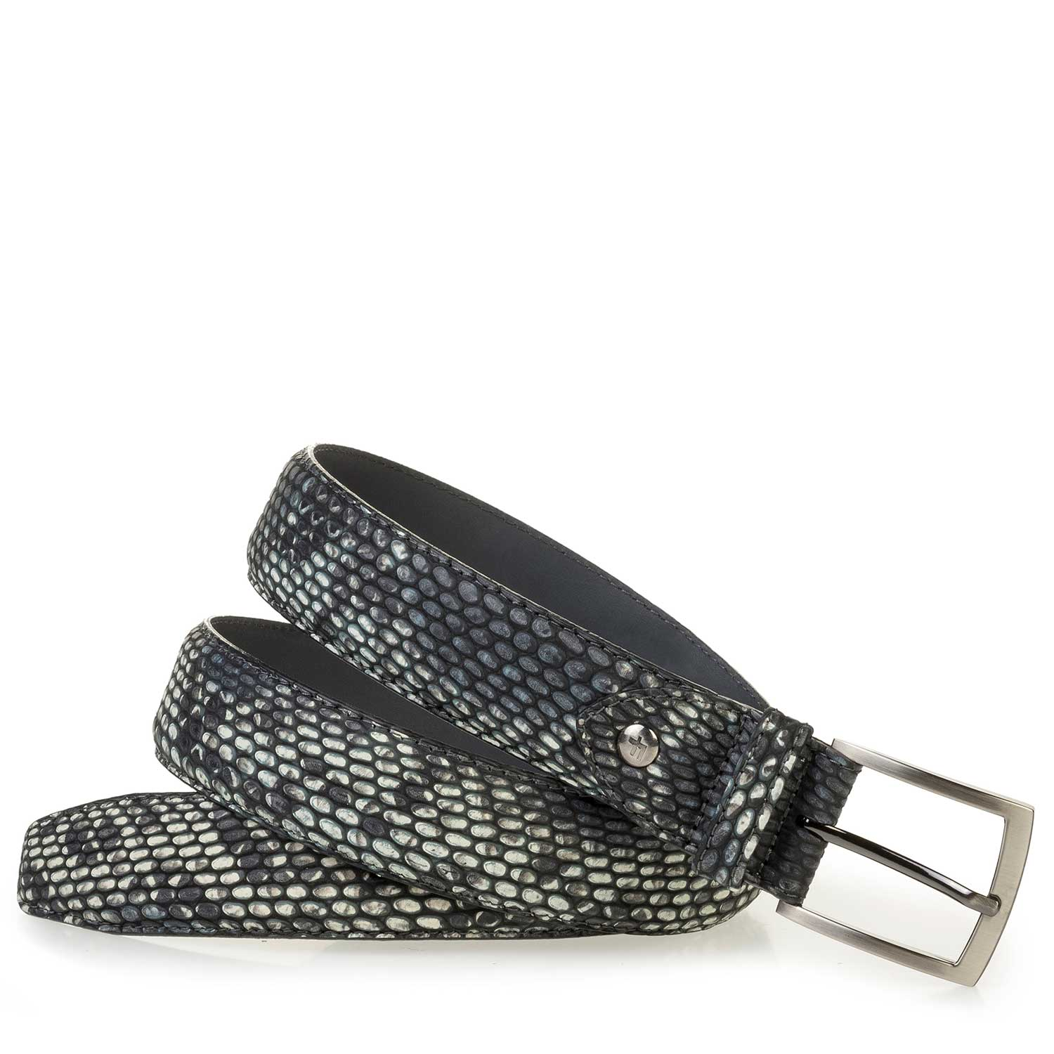 75200/55 - Gray calf leather belt with a snake print