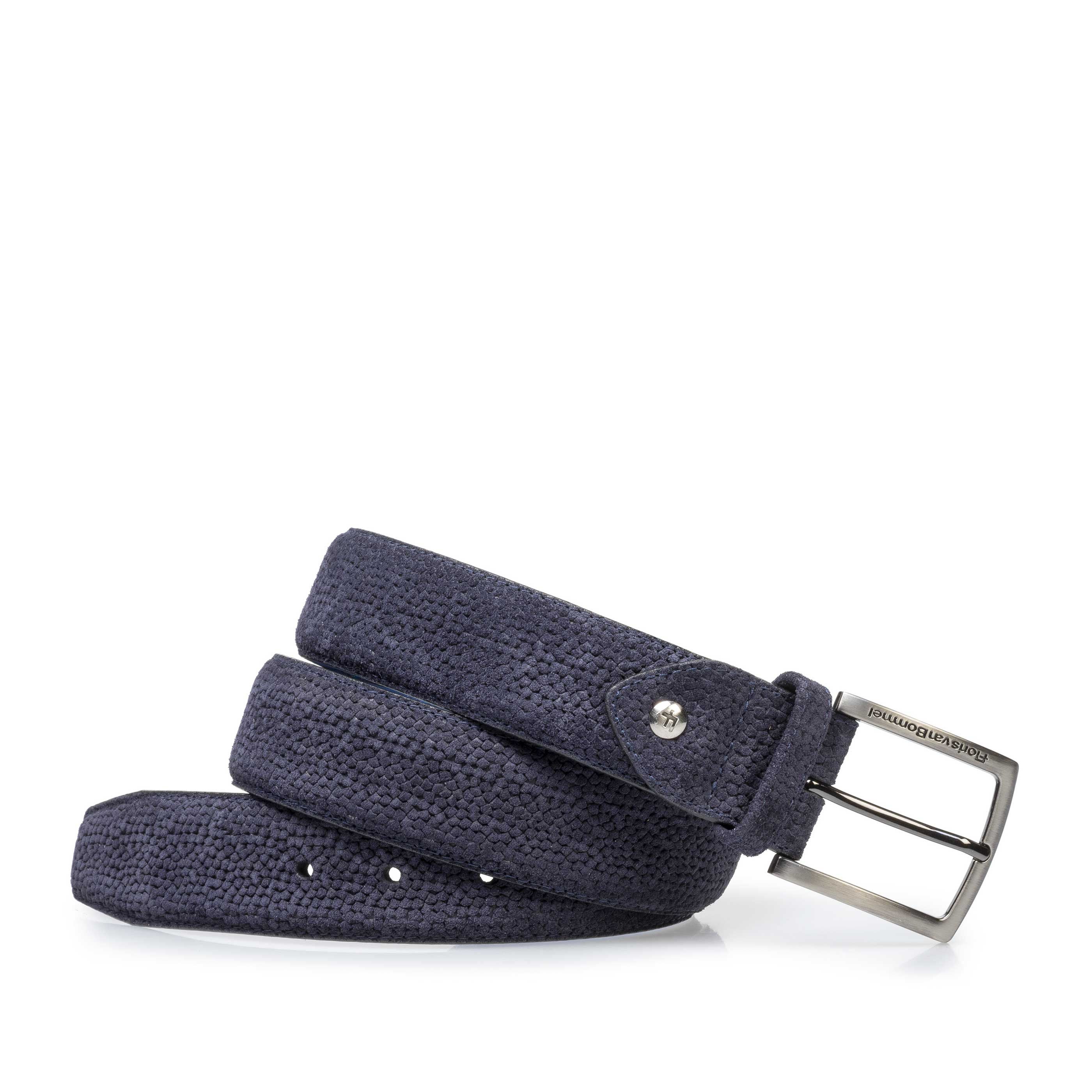 75202/10 - Dark blue suede leather belt with print
