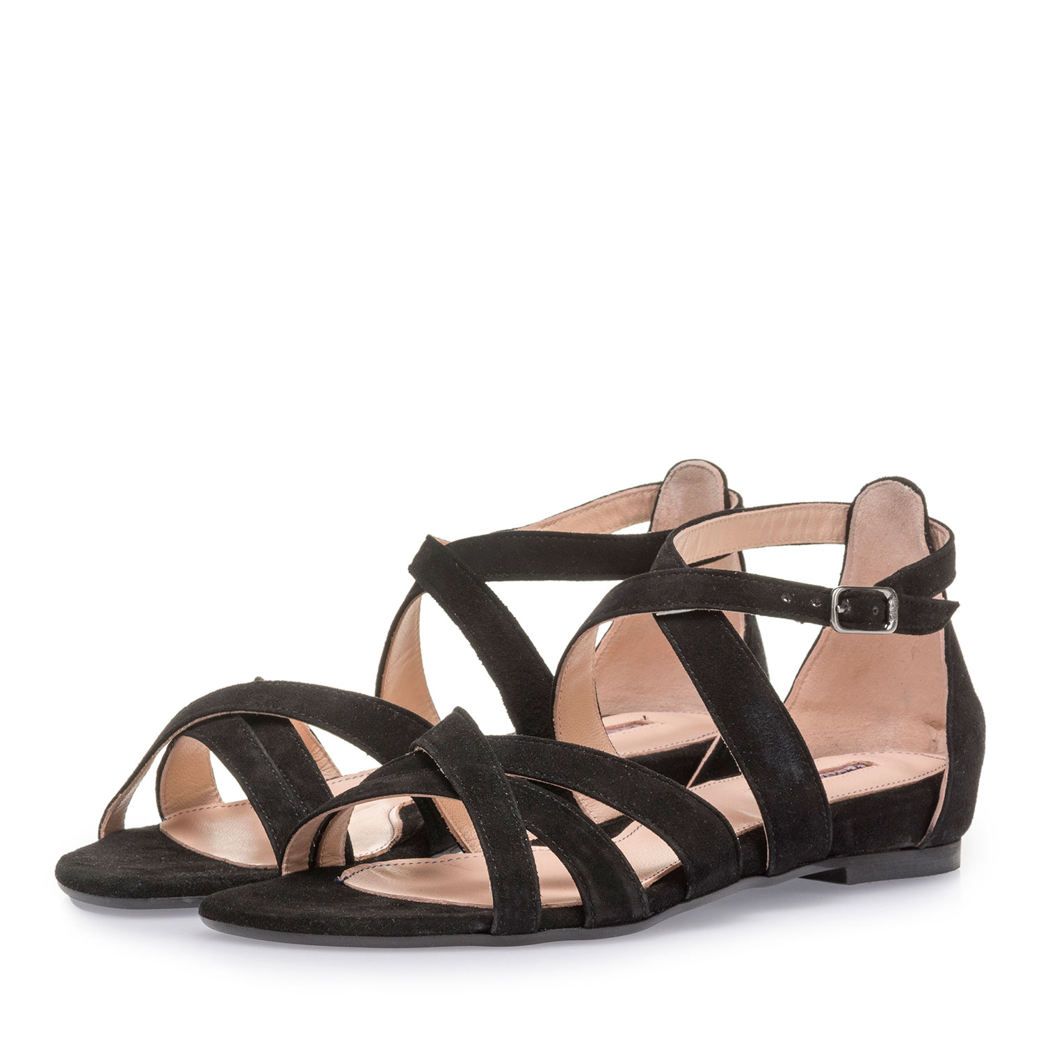 85956/04 - Black suede leather sandals
