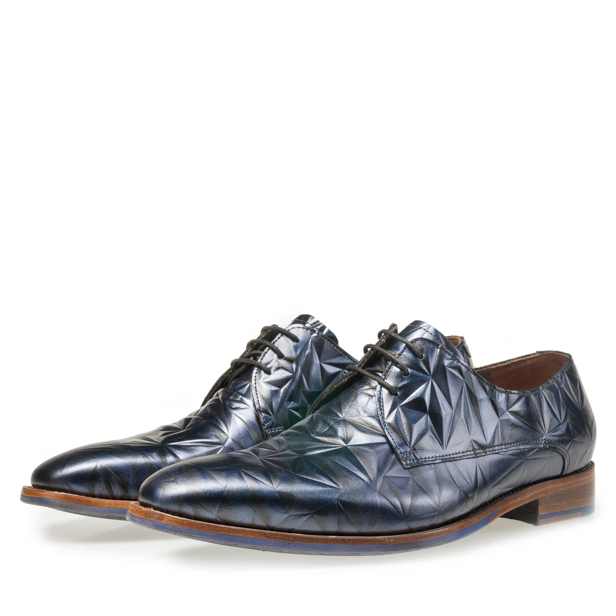 14237/00 - Floris van Bommel men's blue leather lace shoe finished with a black 3D print
