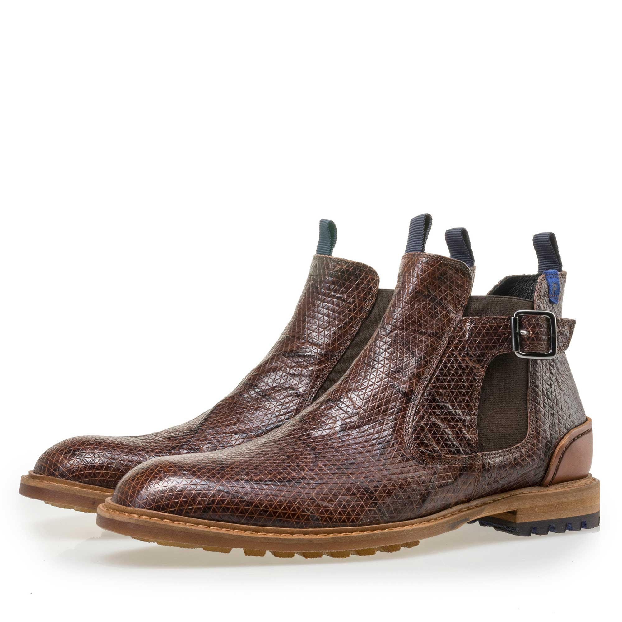 10912/05 - Floris van Bommel men's cognac-coloured leather Chelsea boot finished with a snake print
