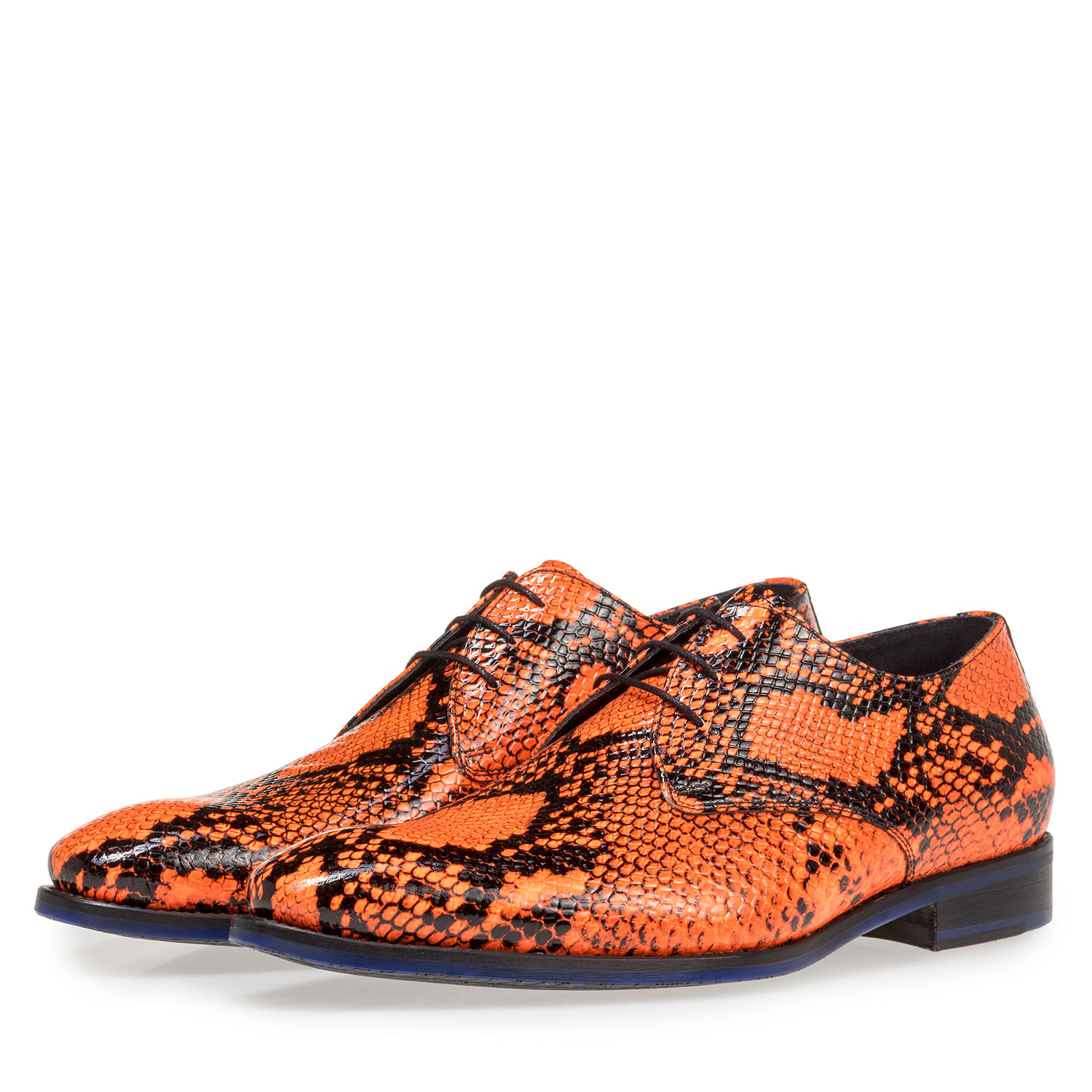 18124/08 - Premium fluorescent orange lace shoe with print