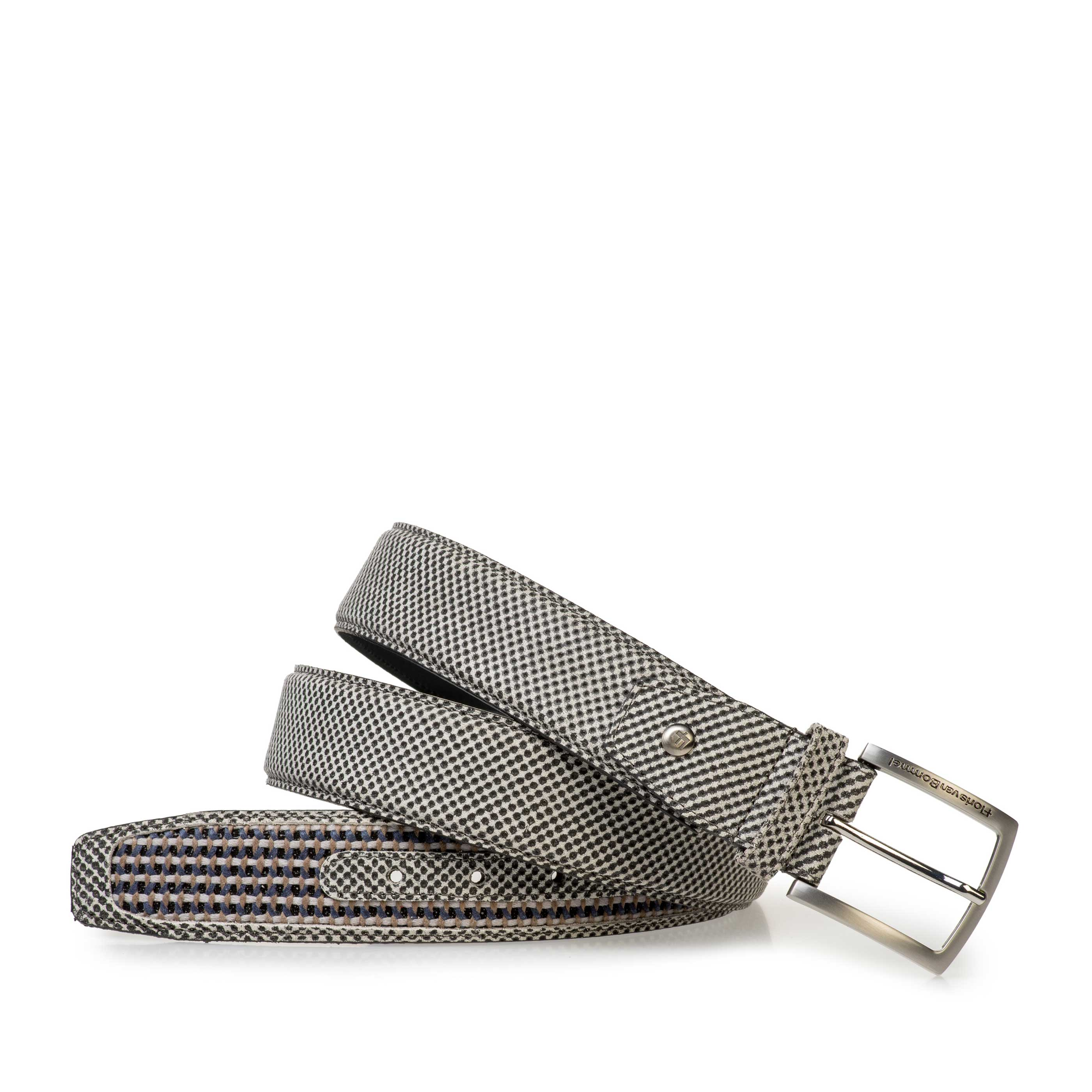75159/35 - Grey suede leather belt with white print