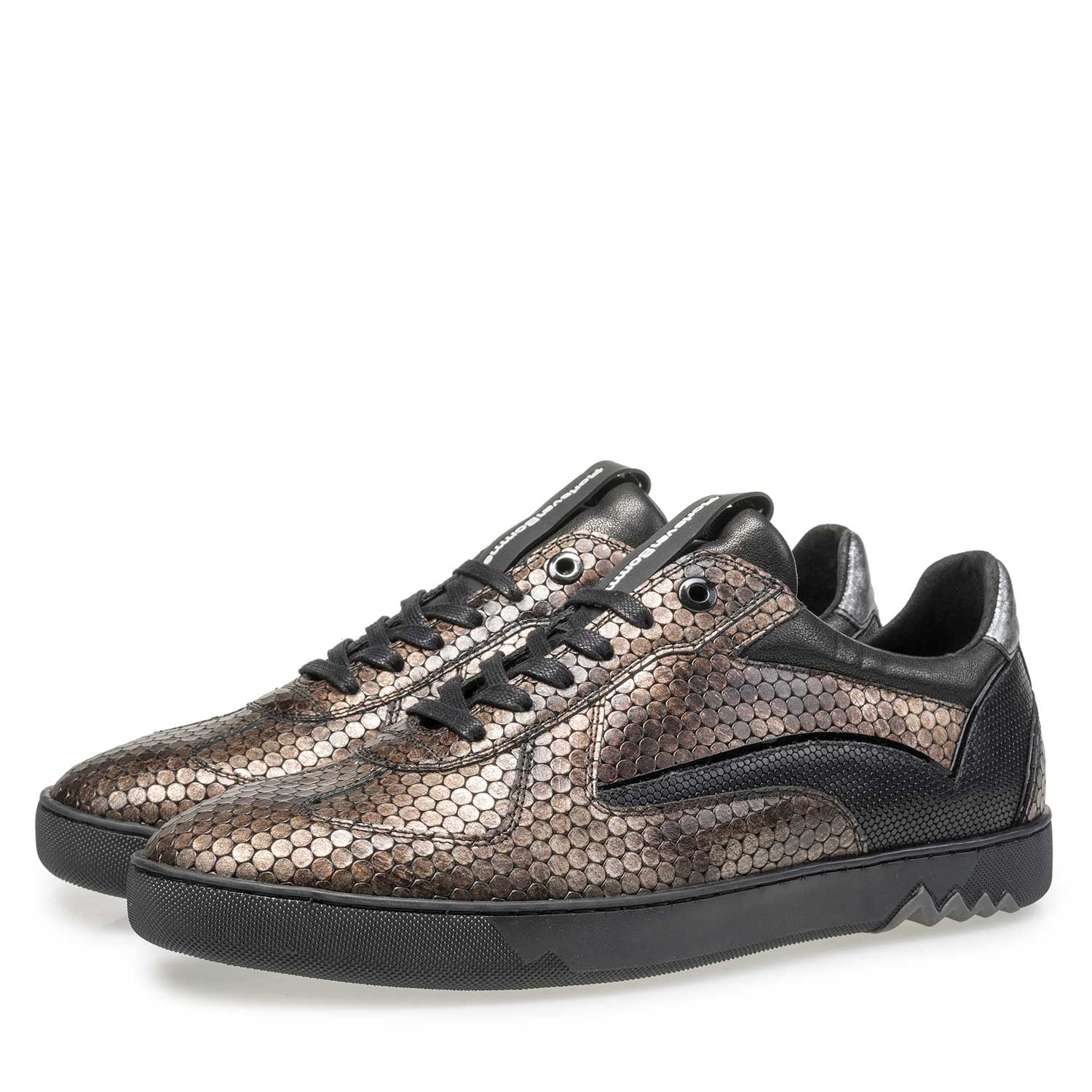 16242/10 - Brown leather sneaker with metallic print