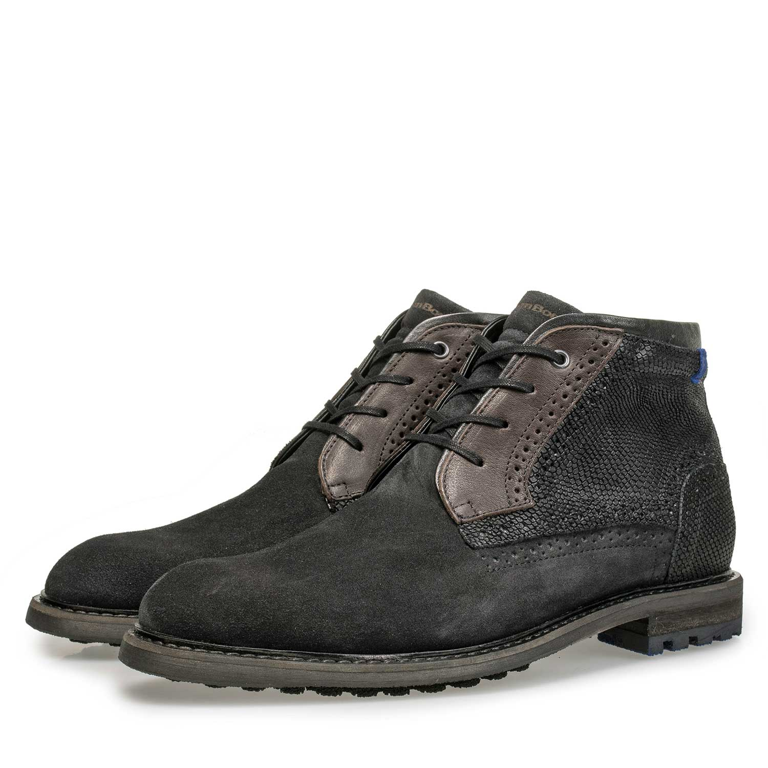 10978/15 - Mid-high dark grey calf's suede leather lace shoe