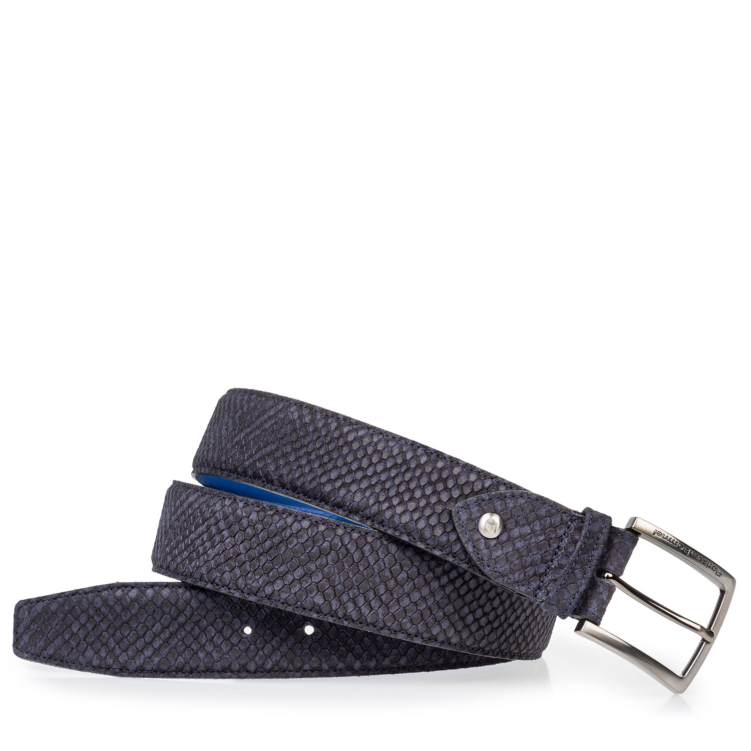 75204/12 - Suede leather belt blue with black print