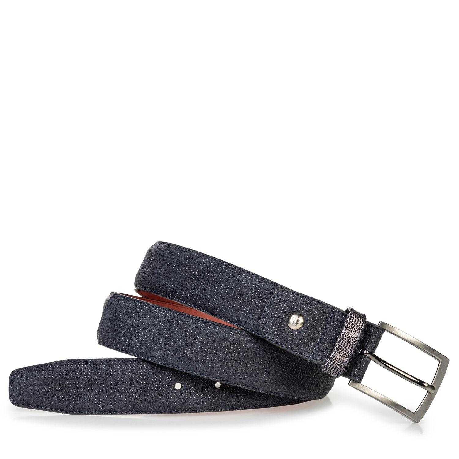 75188/74 - Suede leather belt blue with print