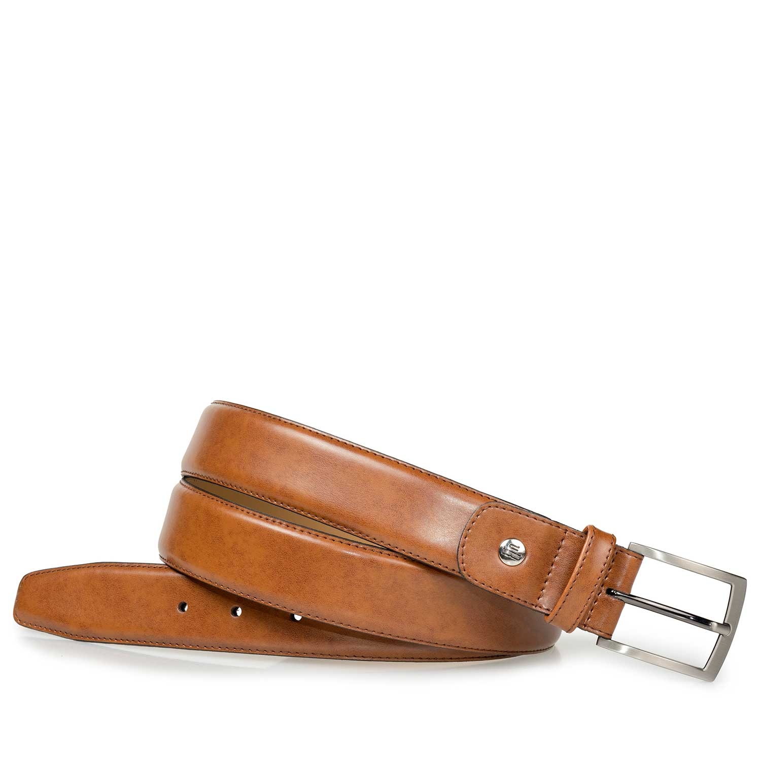 75076/02 - Cognac-coloured calf leather belt