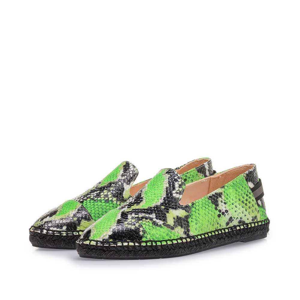 85420/05 - Fluorescent green espadrilles with snake print