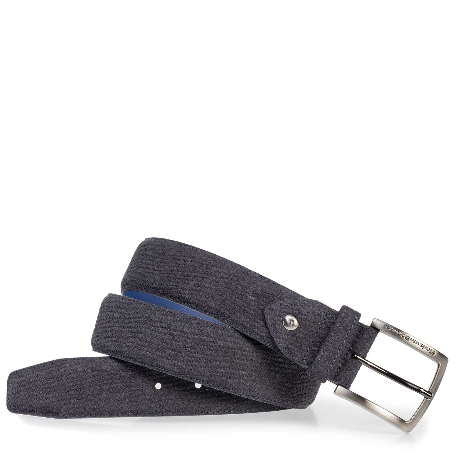 75202/38 - Dark blue suede leather belt with print