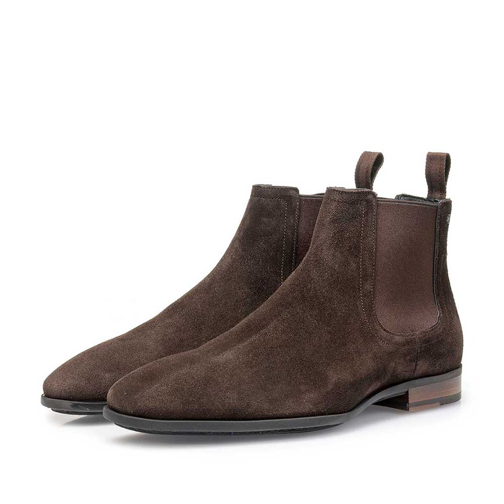 10342/00 - Dark brown waxed suede leather Chelsea boot