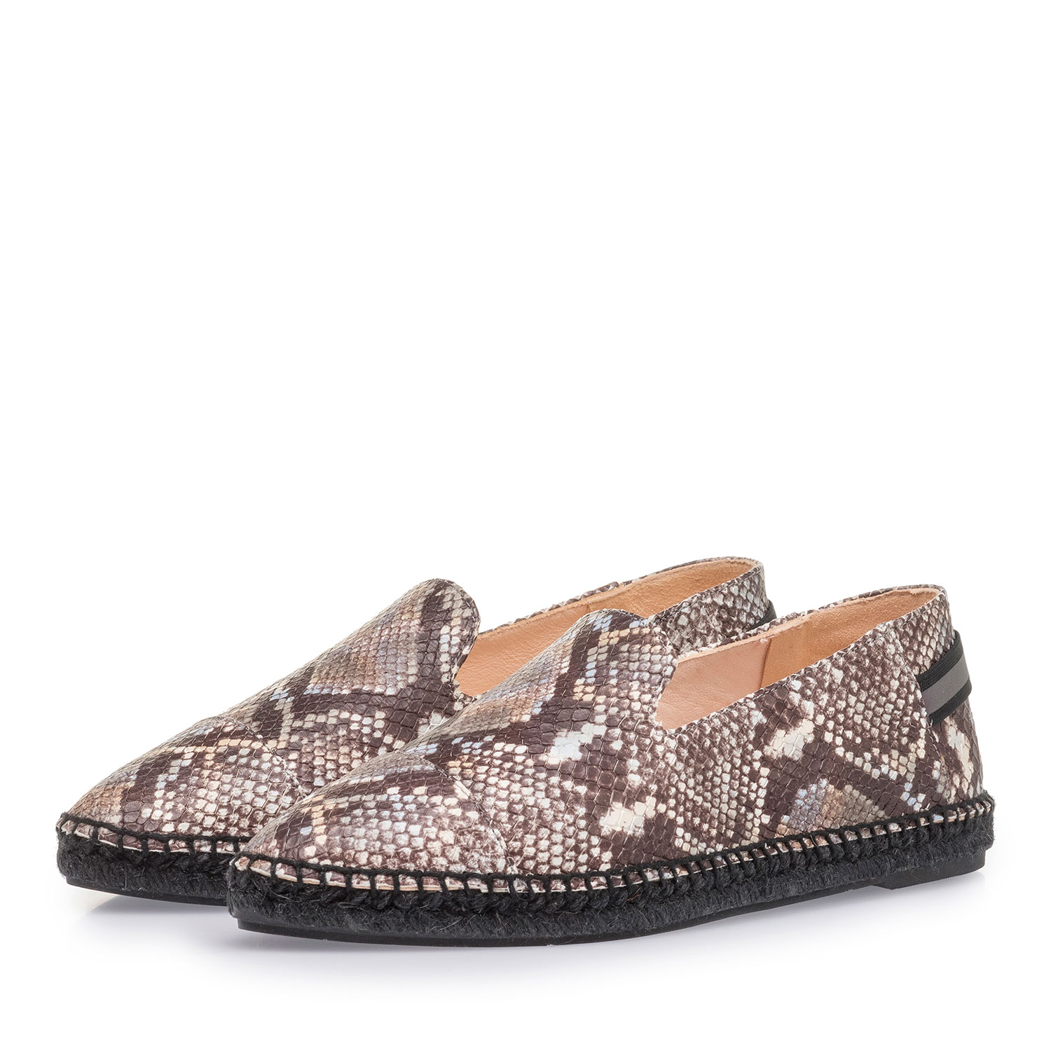 85420/07 - Brown and white leather espadrilles with snake print
