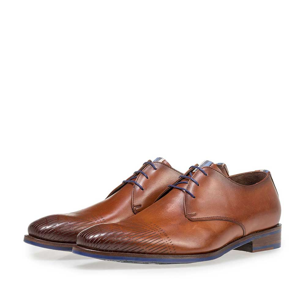 18276/00 - Dark cognac-coloured calf leather lace shoe