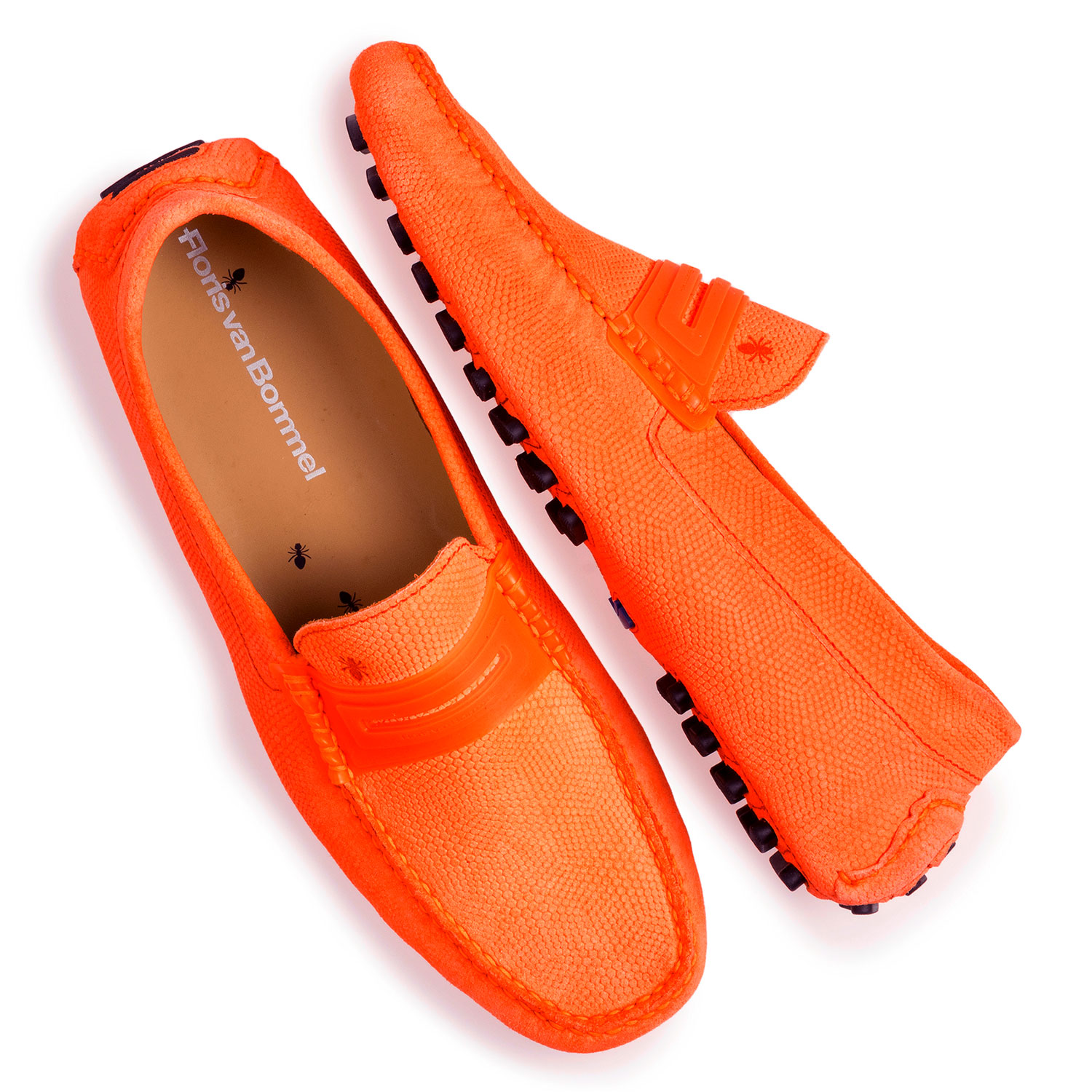 15215/02 - Premium fluorescent orange leather moccasin