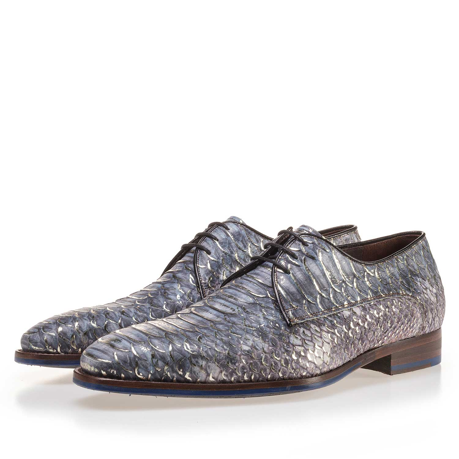 14170/00 - Premium blue leather lace shoe with a snake print