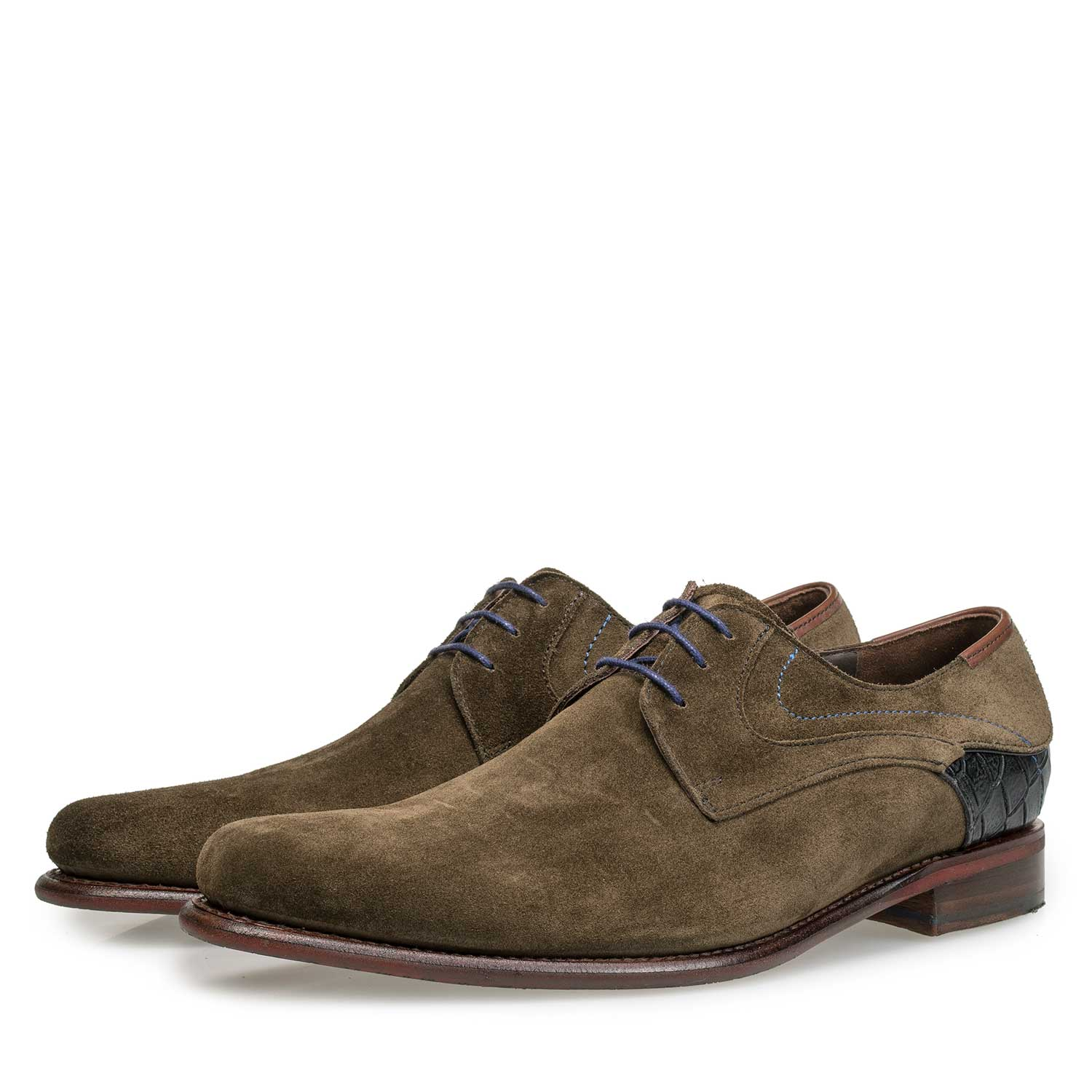 18079/01 - Olive green calf's suede leather lace shoe