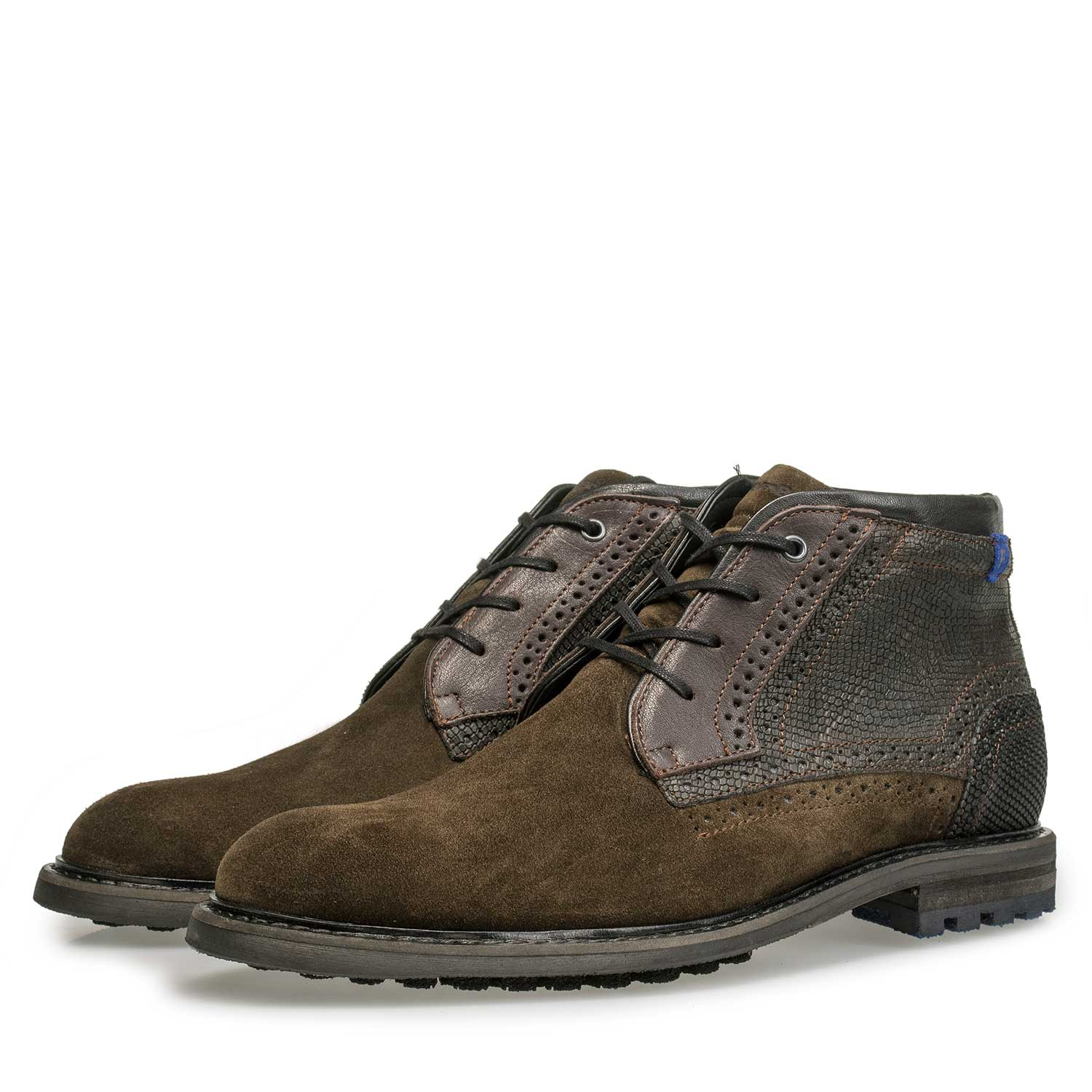 10978/14 - Olive green calf suede leather lace boot