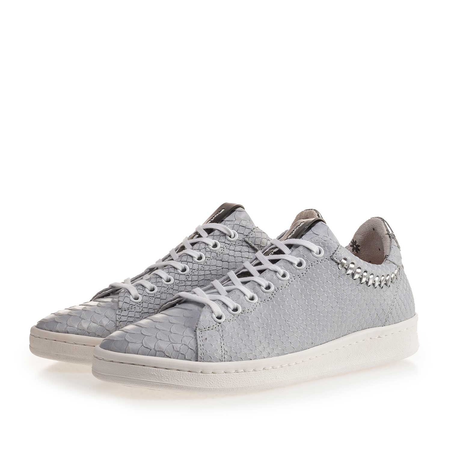 85251/01 - Light blue nubuck leather sneaker with snake print