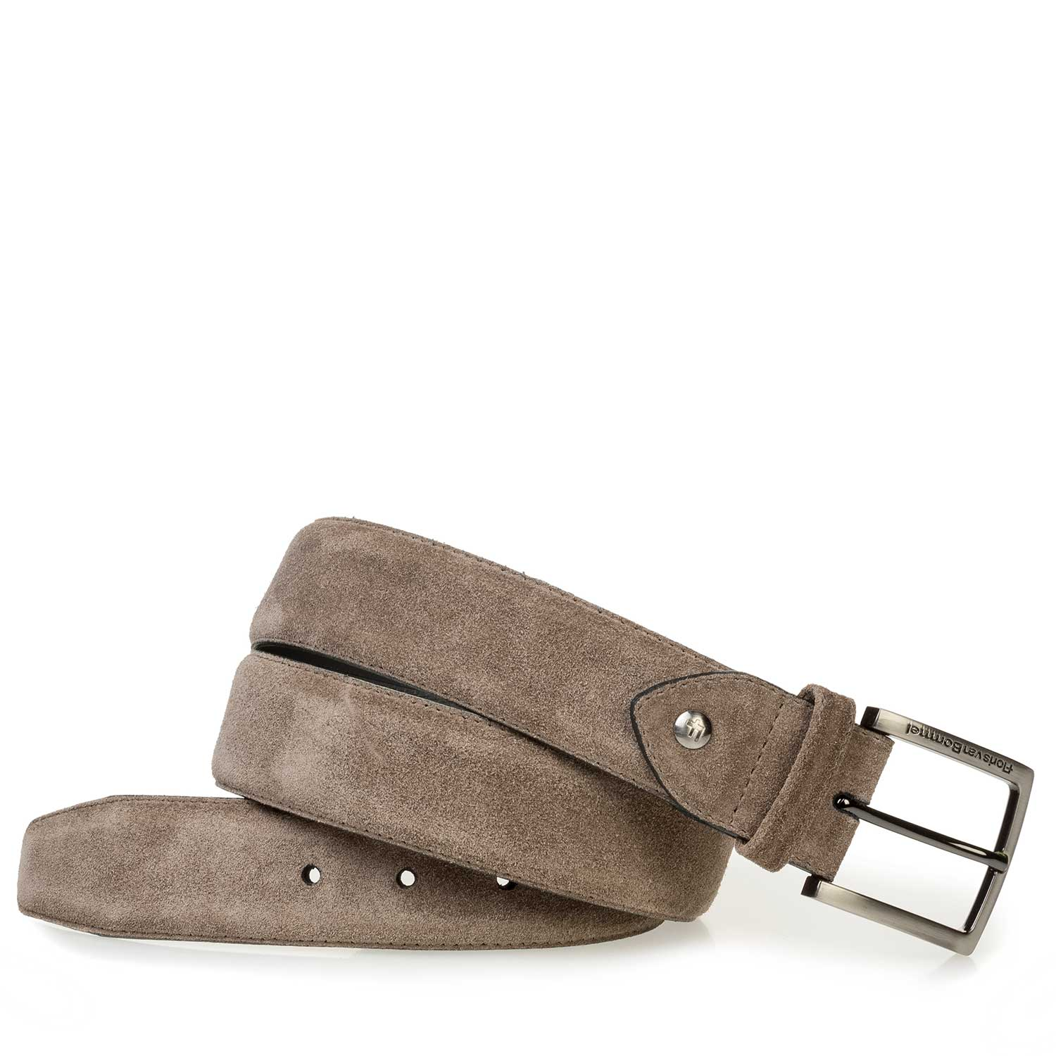 75189/68 - Taupe-coloured washed suede leather belt