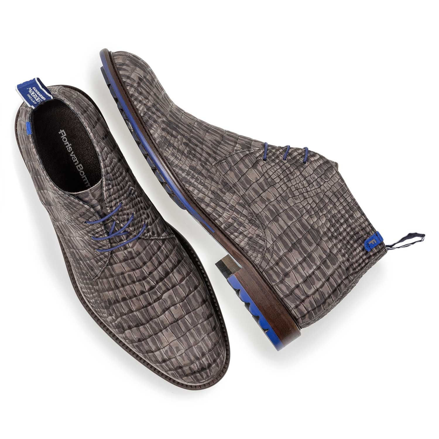 10203/23 - Dark grey nubuck leather lace shoe with croco print