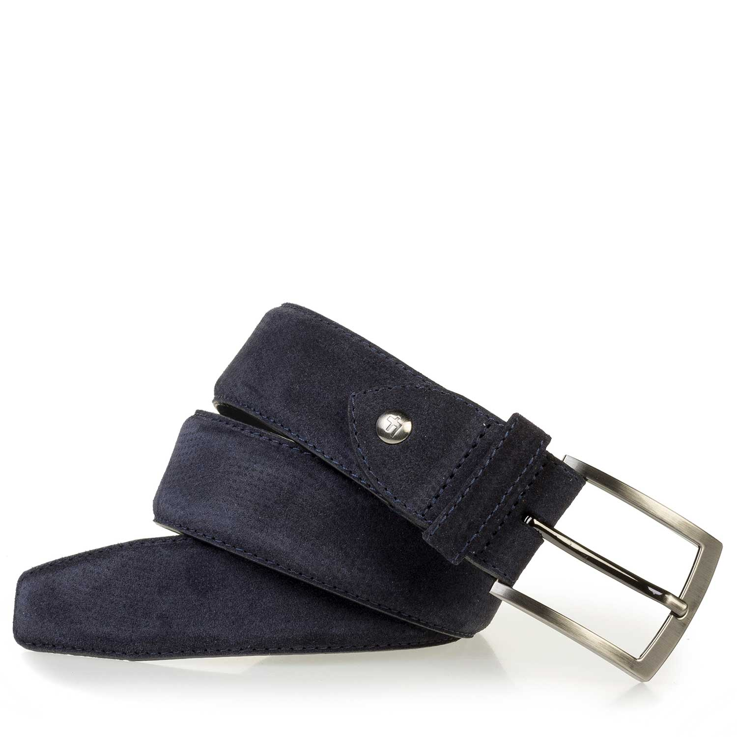 75200/58 - Dark blue suede leather belt with a pattern