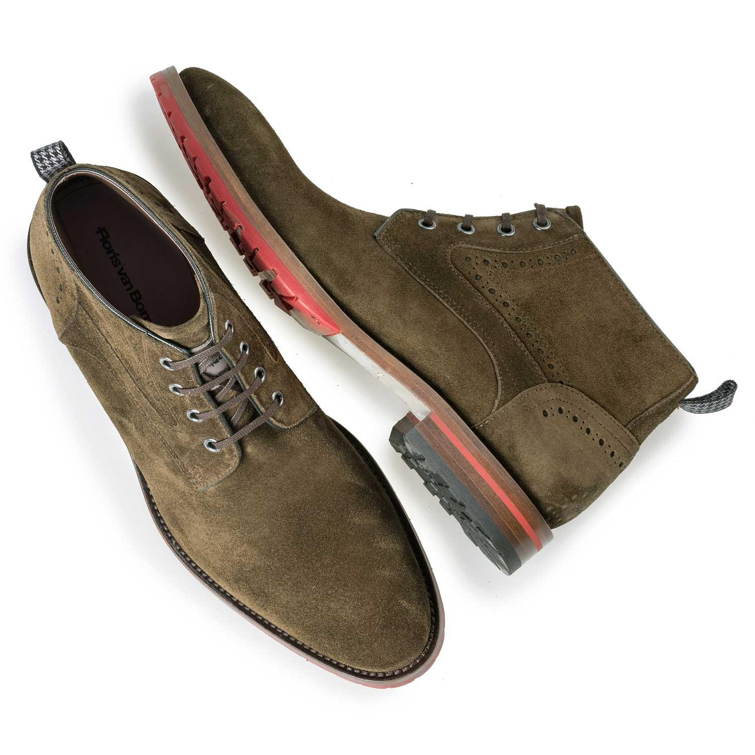 10317/05 - Brown/Olive green suede leather lace shoe
