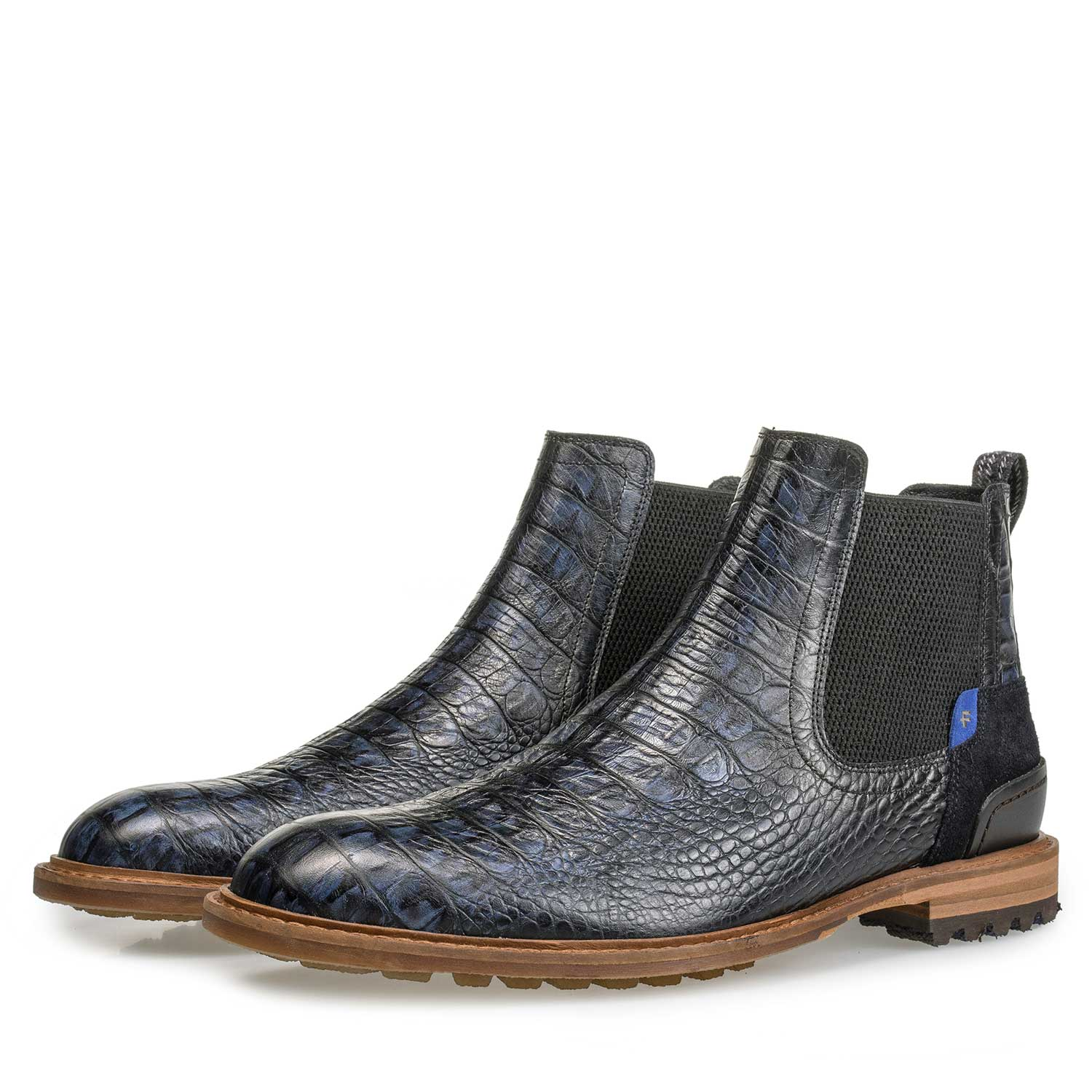 10230/13 - Blue leather Chelsea boot with croco print