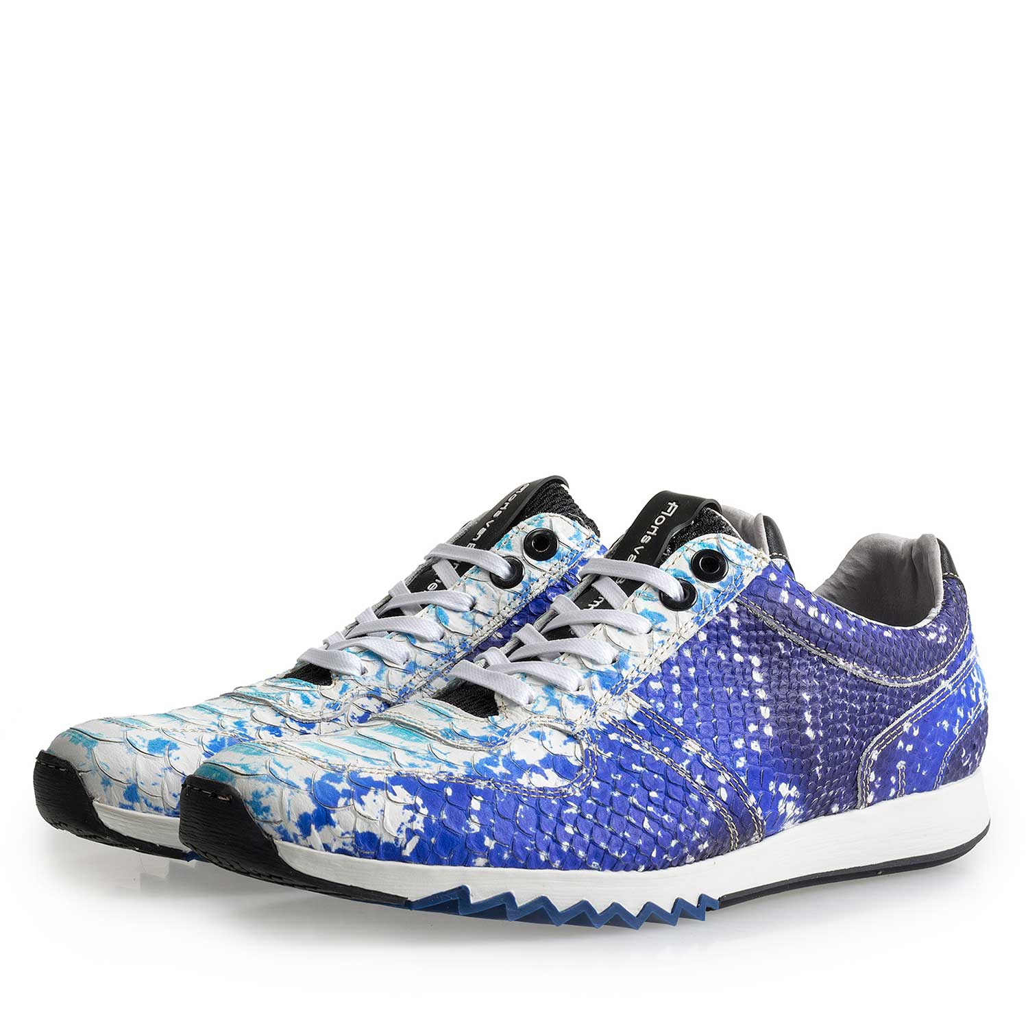 16227/11 - Blue leather sneaker with snake print