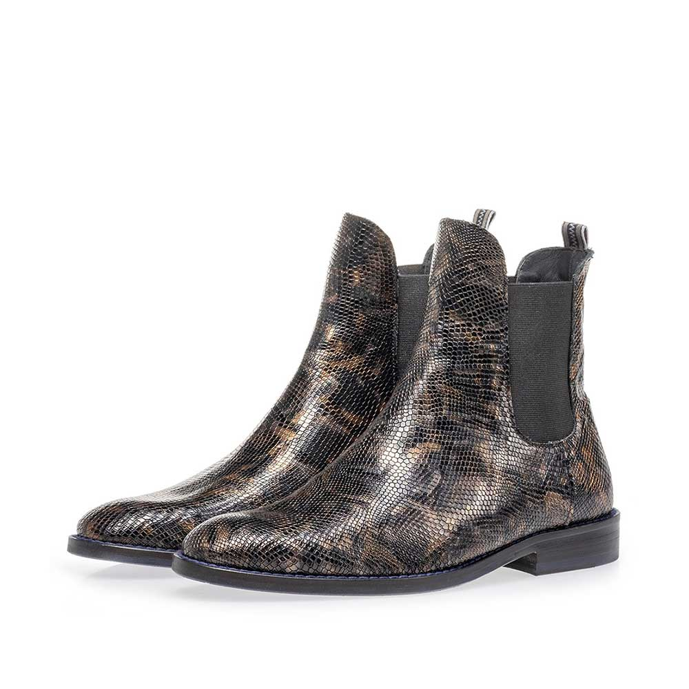 85668/01 - Chelsea boot crocoprint koper