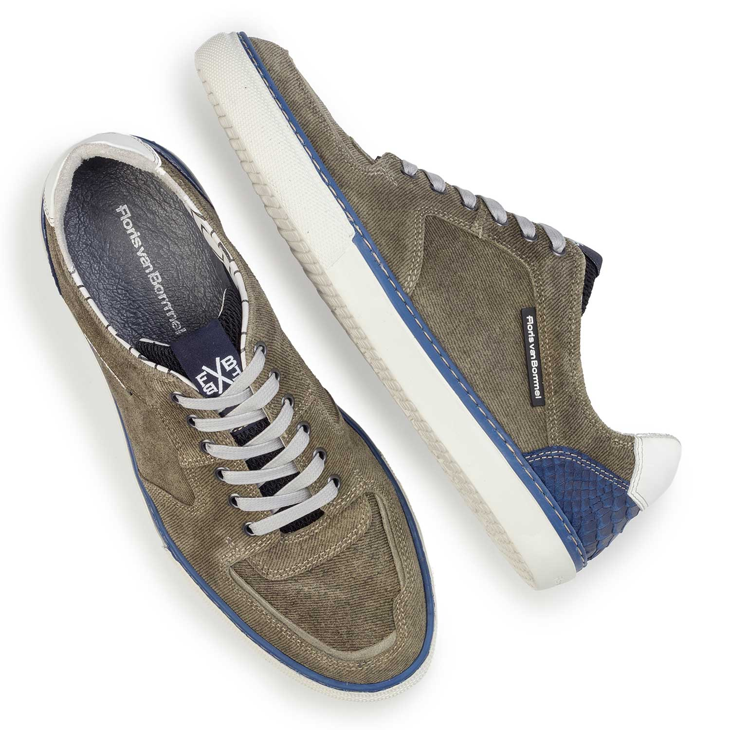 Olive green suede leather sneaker with denim pattern