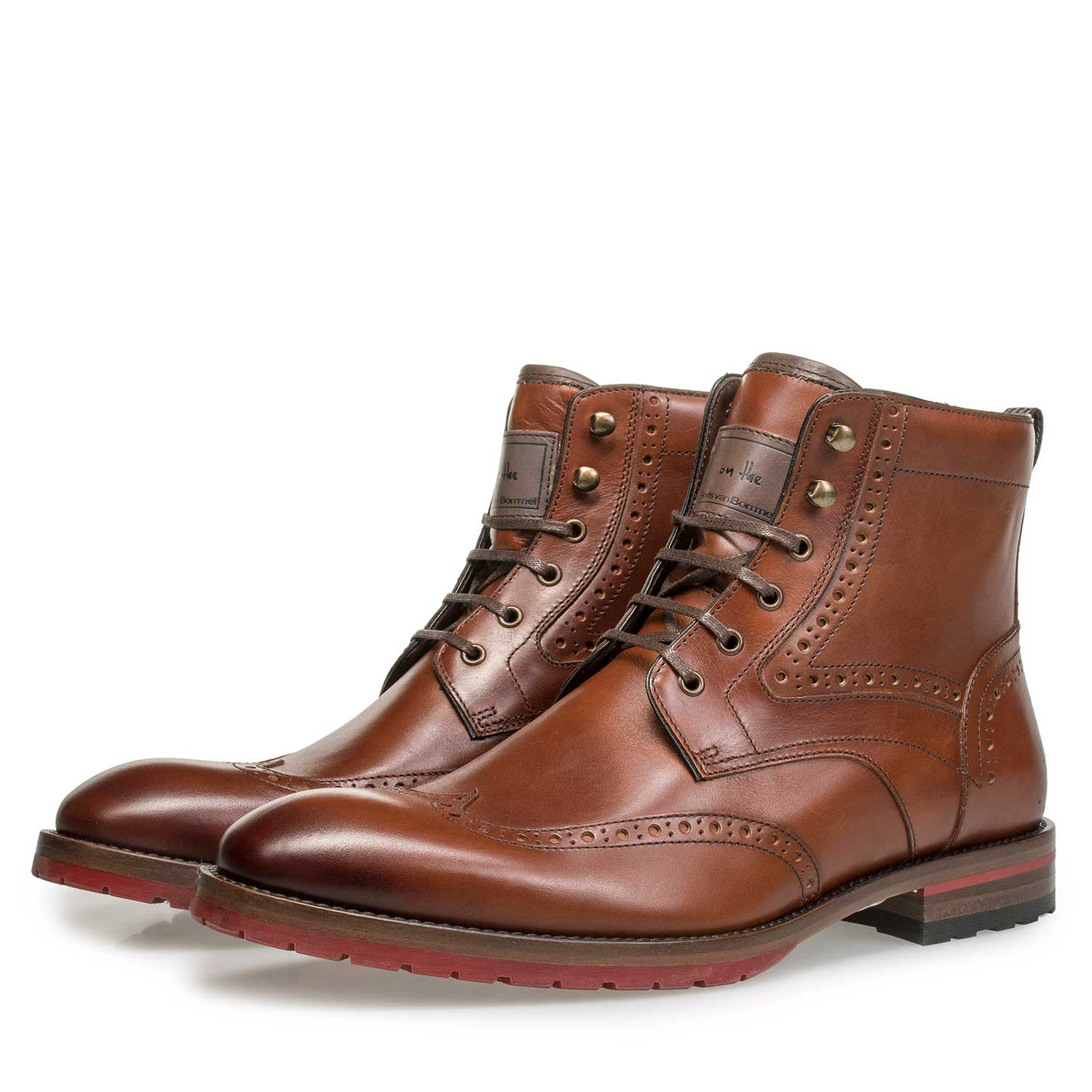10295/03 - Cognac leren brogue veterboot