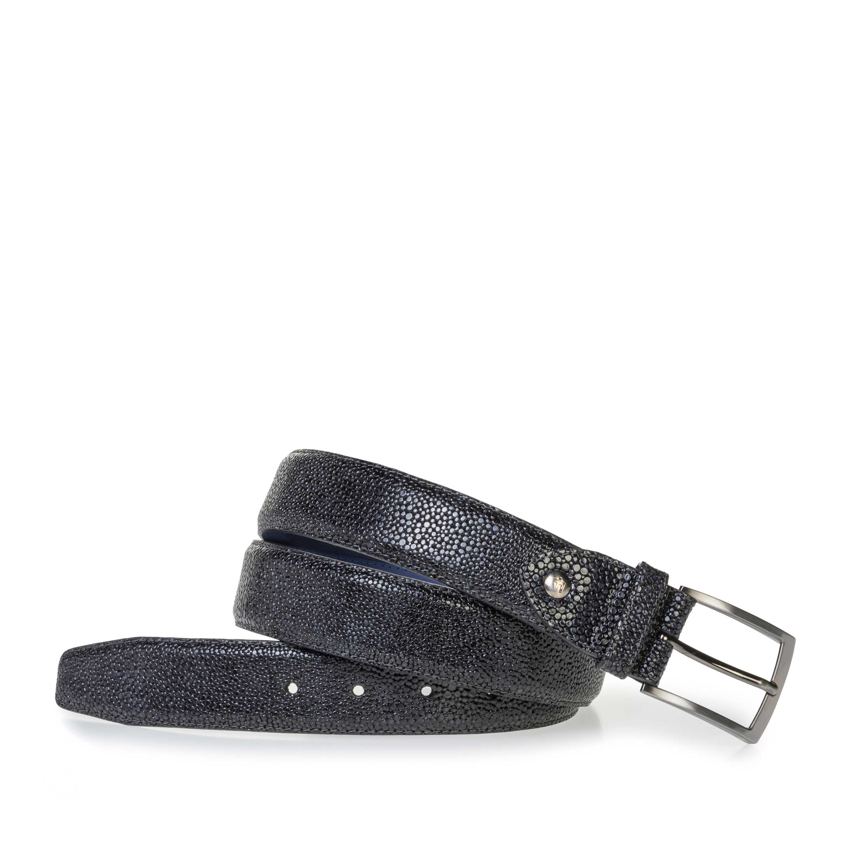 75200/91 - Blue leather belt with metallic print