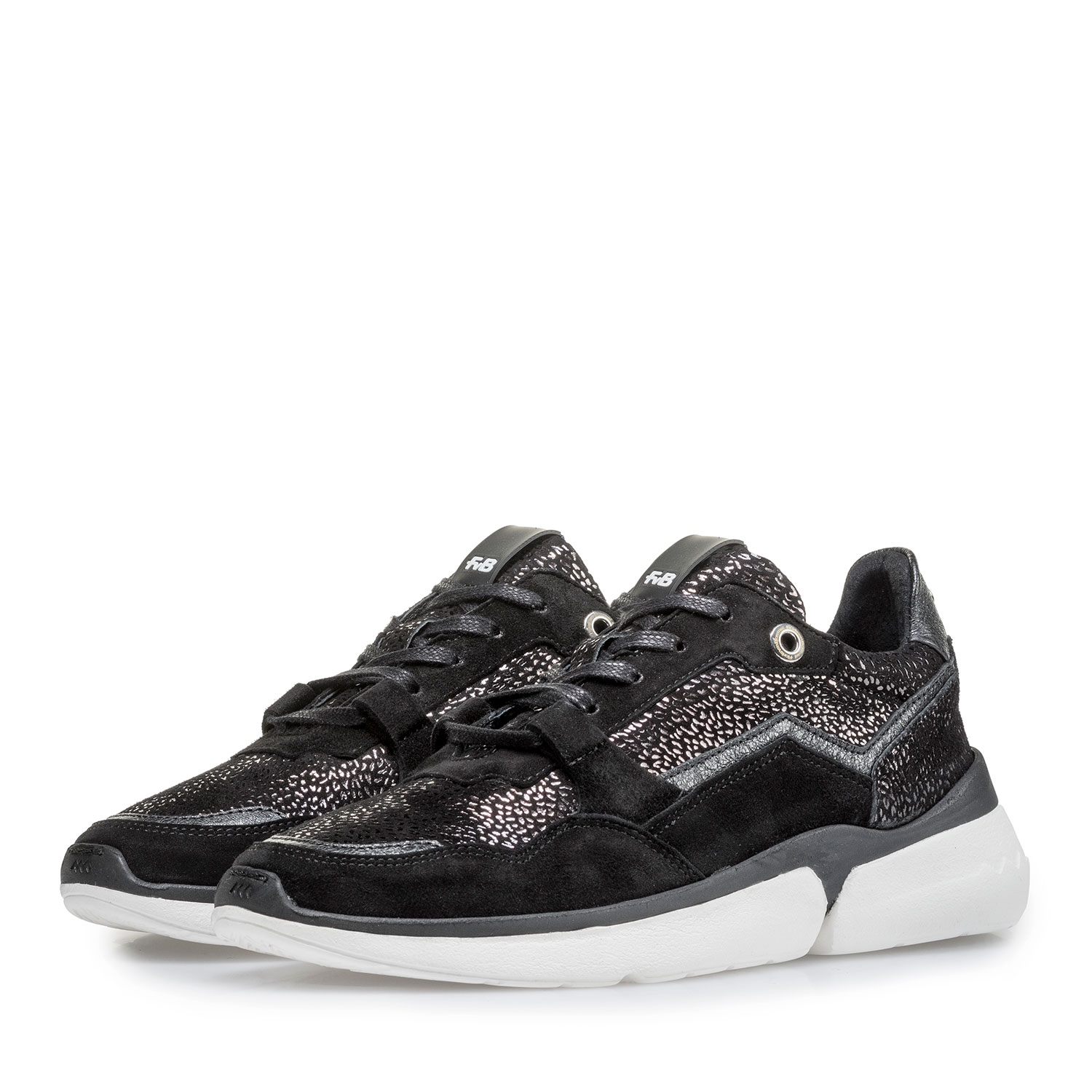 85291/12 - Black suede leather sneaker with metallic print