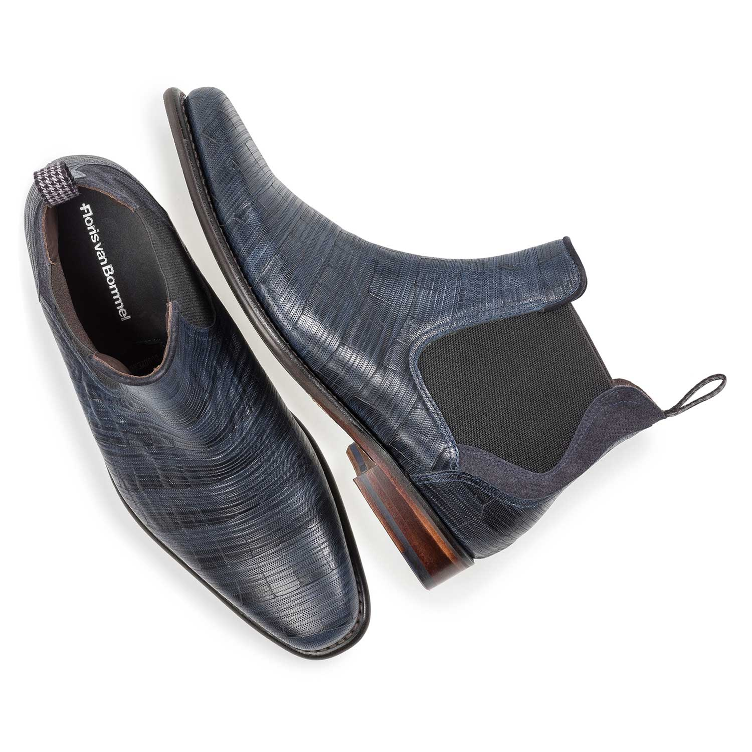 10637/02 - Dark blue leather Chelsea boot with print