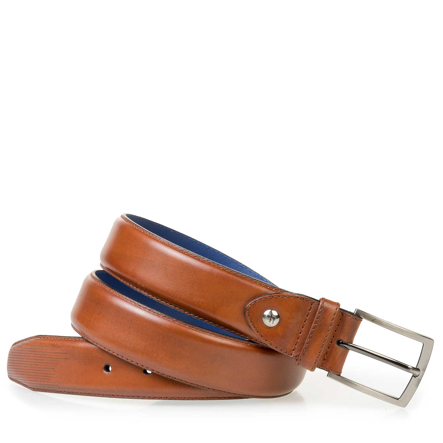 75196/00 - Cognac-coloured calf leather belt with fine lines