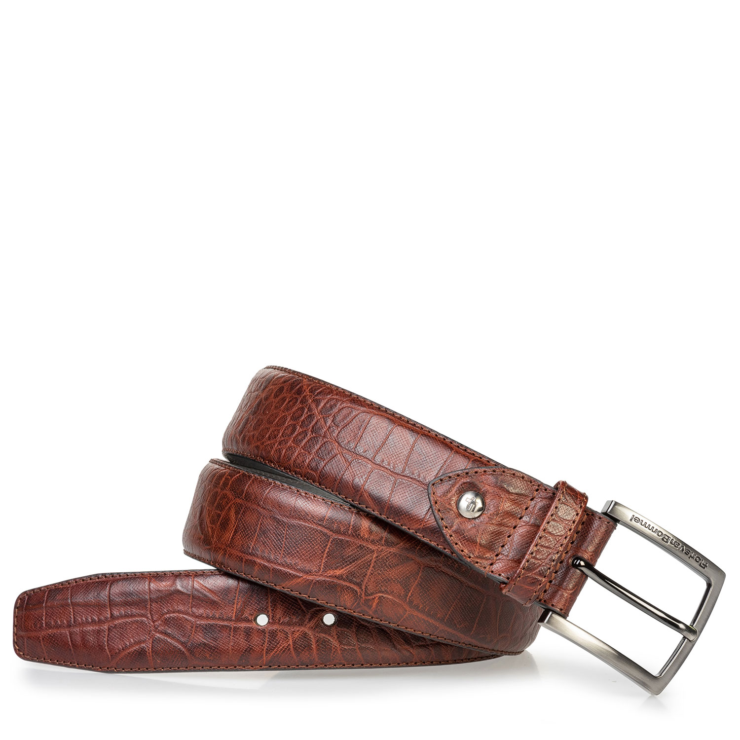 75202/67 - Leather belt croco print cognac