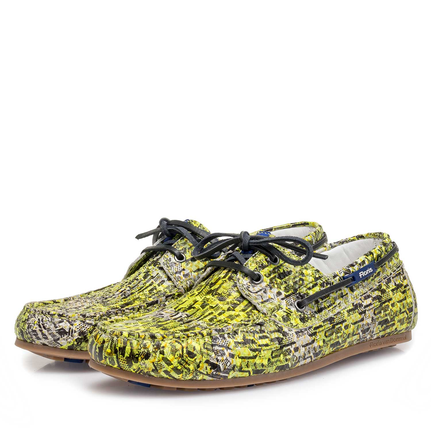 15034/01 - Yellow snake print calf leather sailing shoe