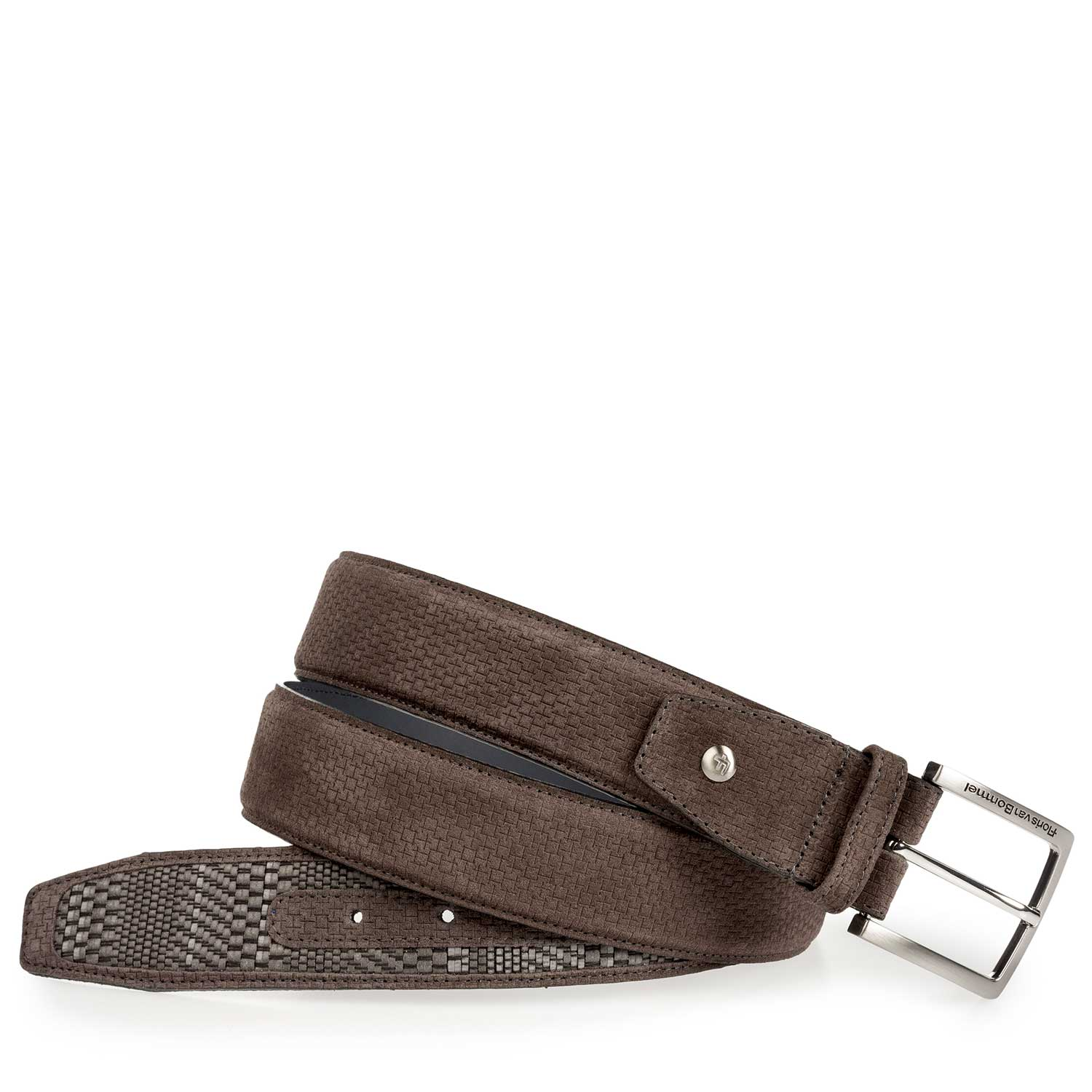 75159/13 - Grey suede leather belt with a braided pattern