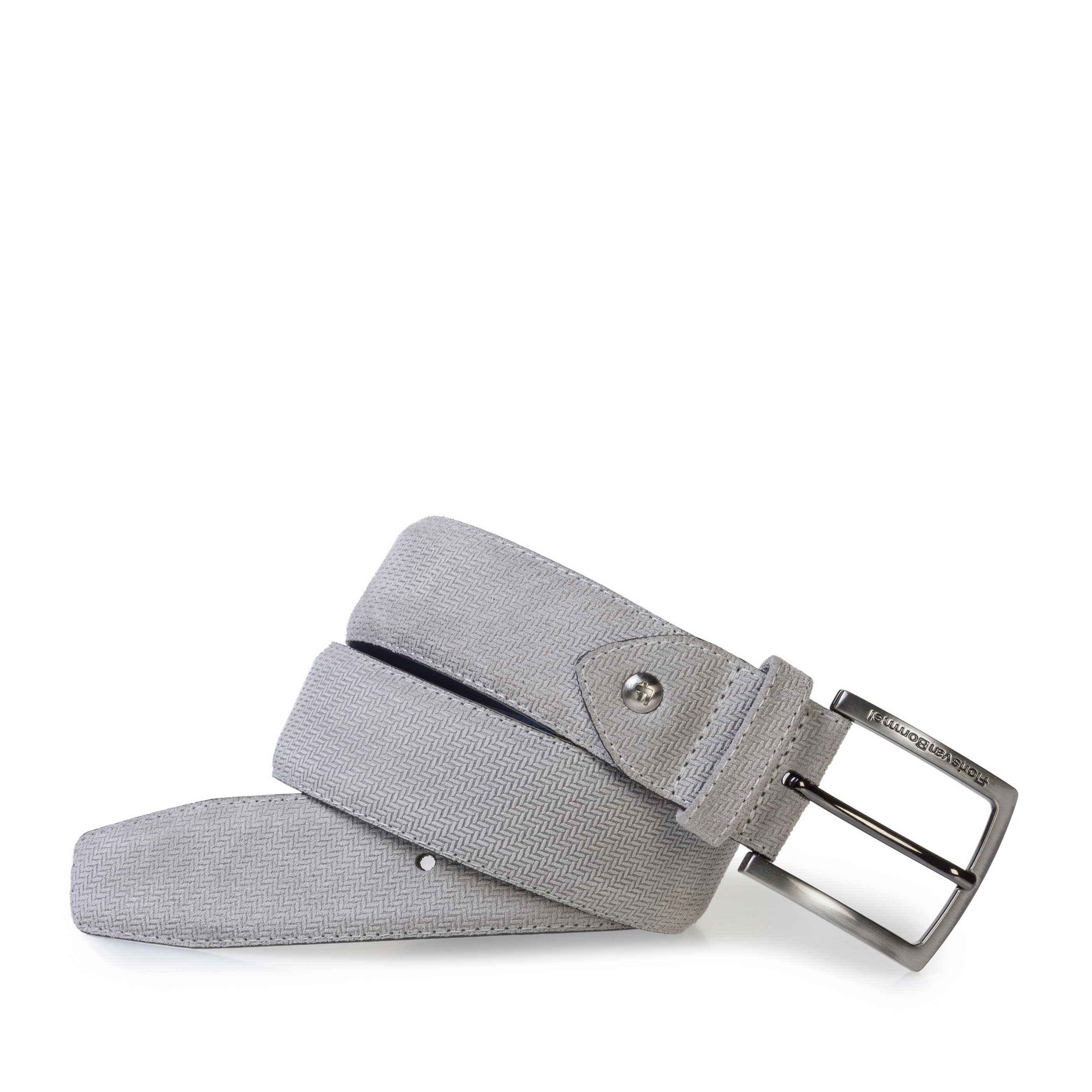 75202/50 - Light grey suede leather belt with print