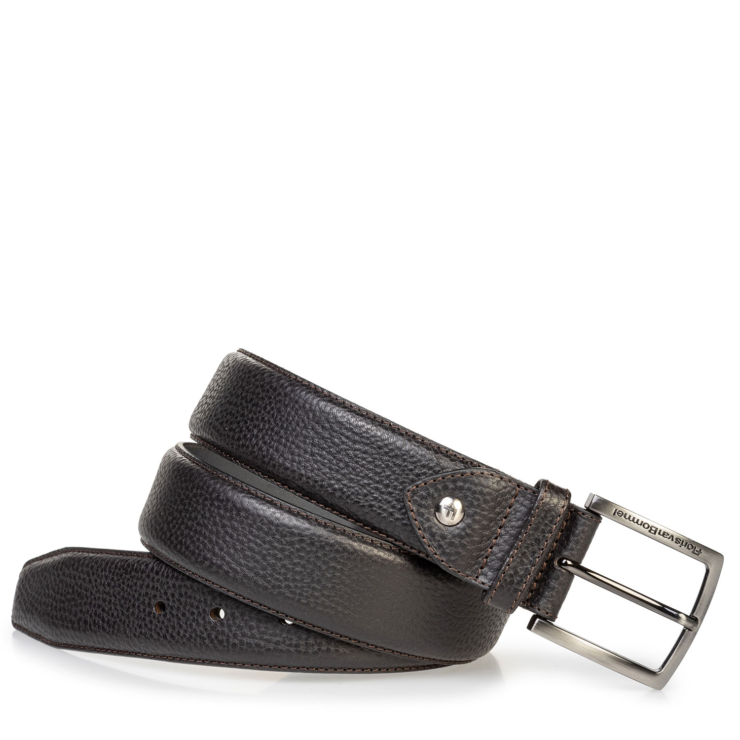 75202/64 - Black leather belt with structured pattern