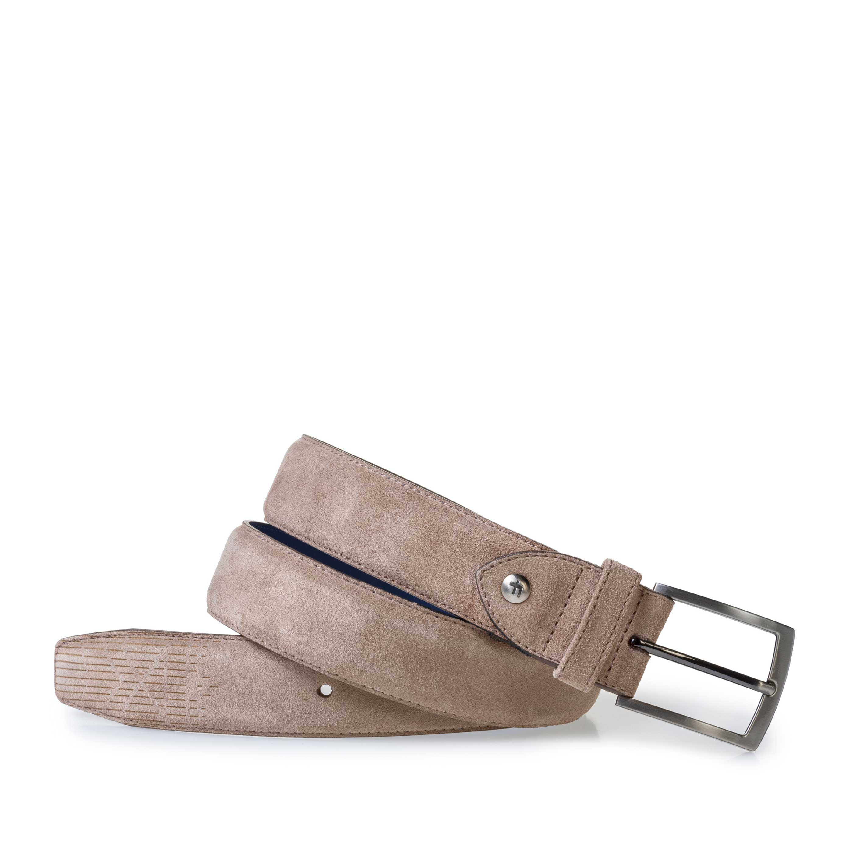 75214/03 - Beige suede leather belt with laser print