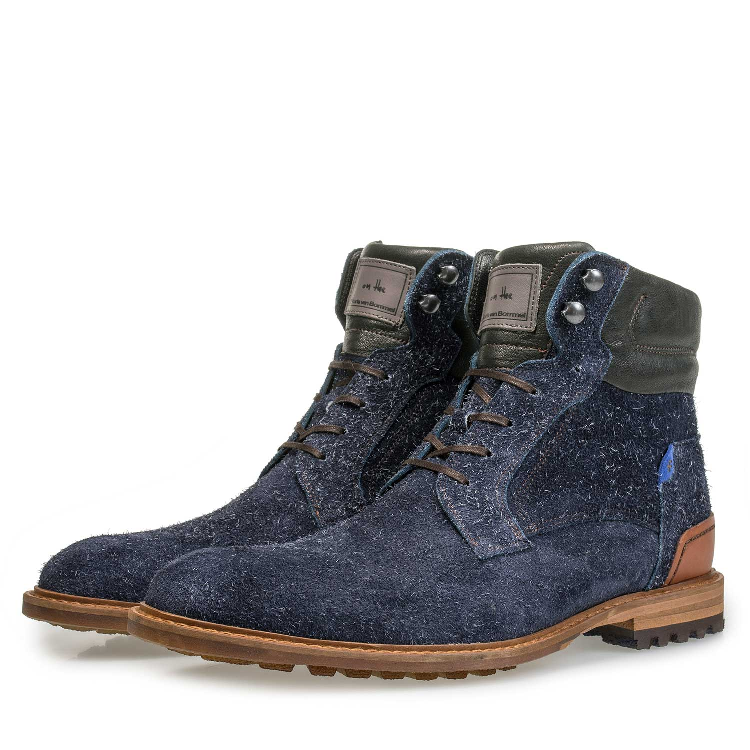 10234/15 - Blue rough-leather lace boot