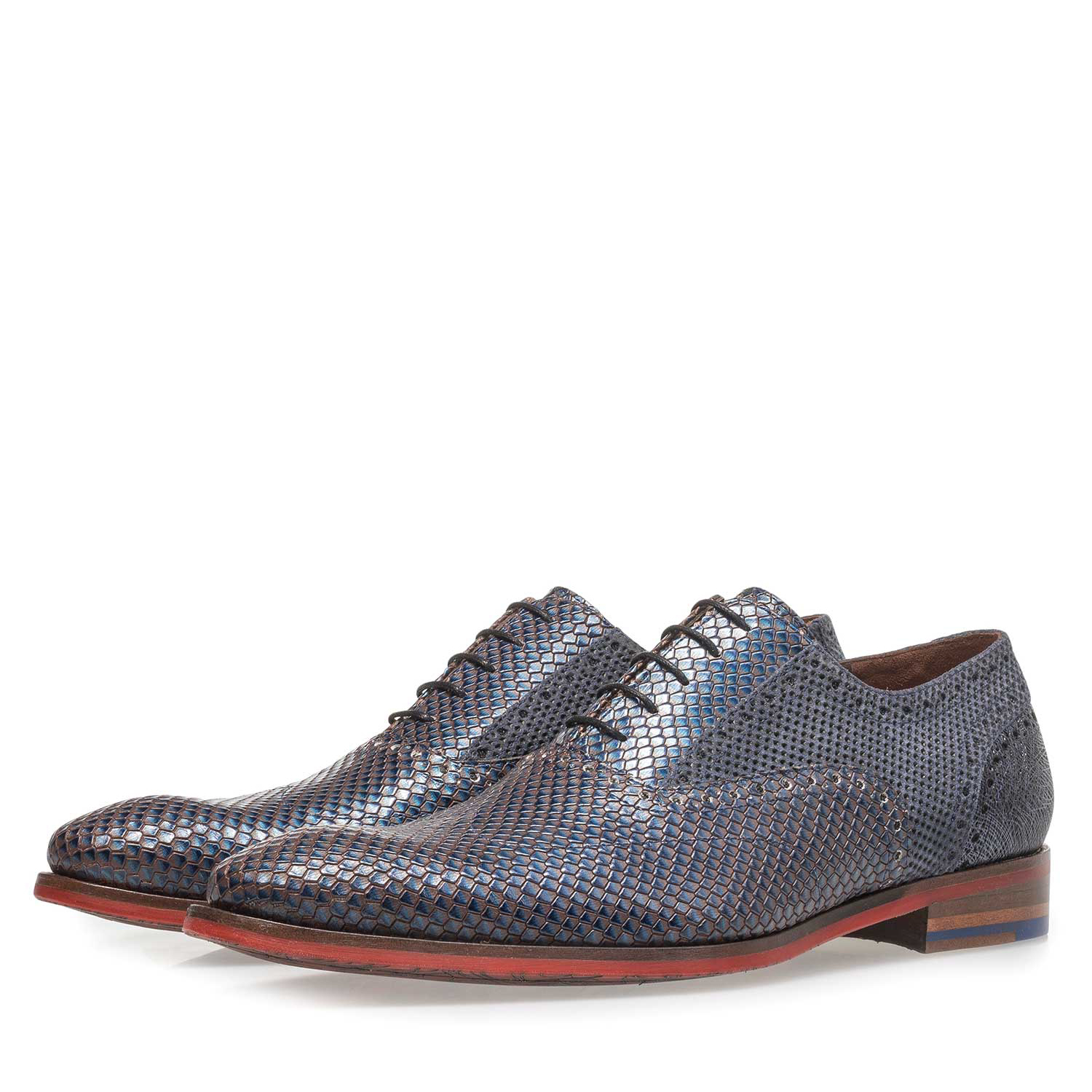 19117/05 - Premium blue calf leather lace shoe with metallic print